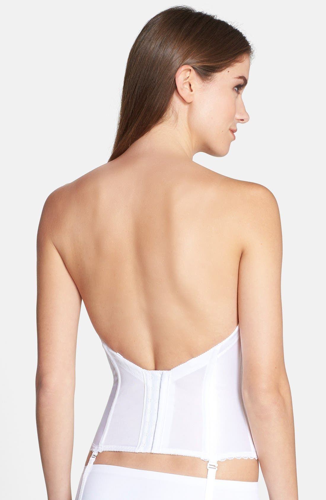 Convertible Low Back Satin Bustier,                             Alternate thumbnail 7, color,                             100