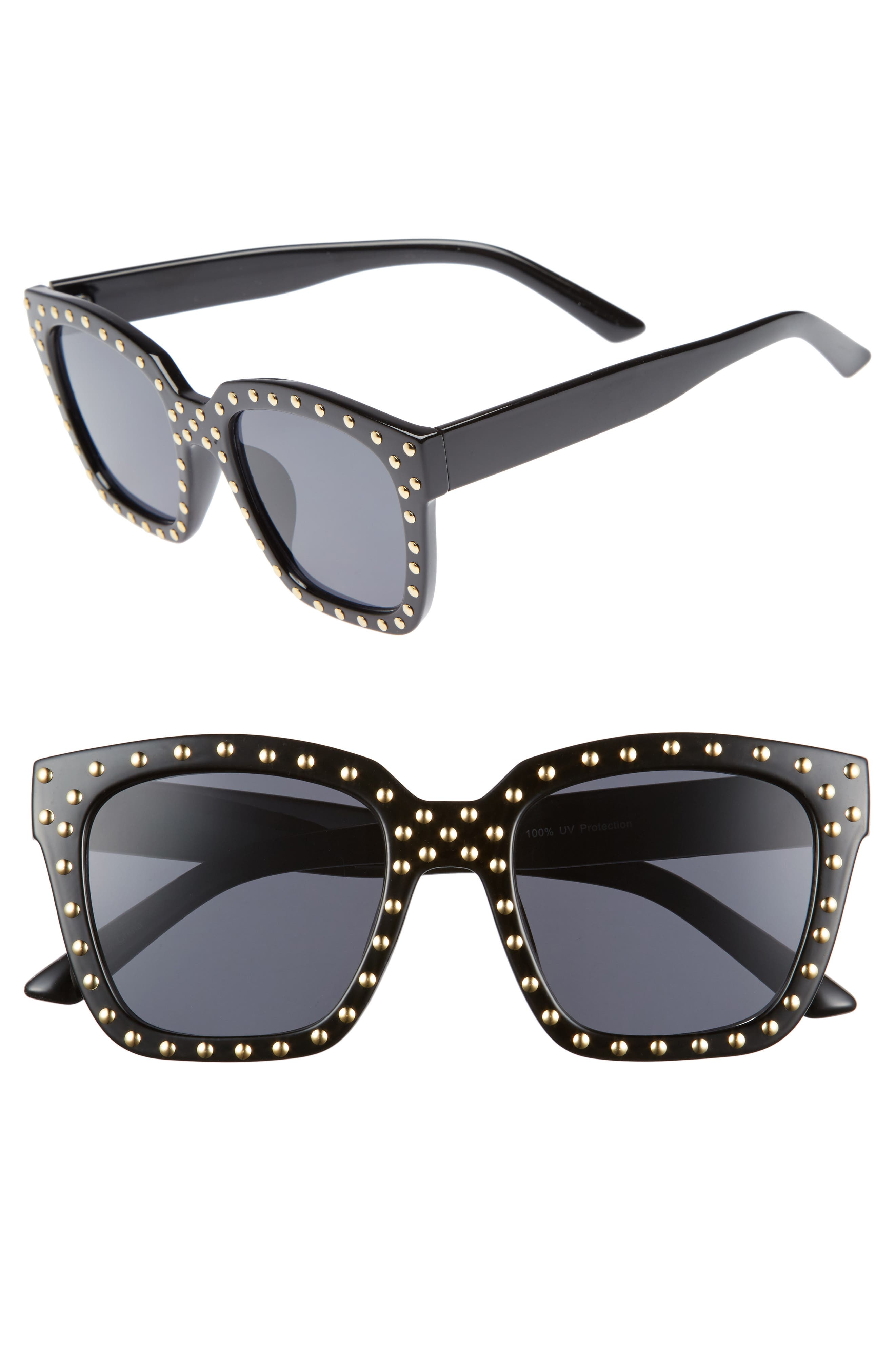 Studded Square Sunglasses,                         Main,                         color, 001