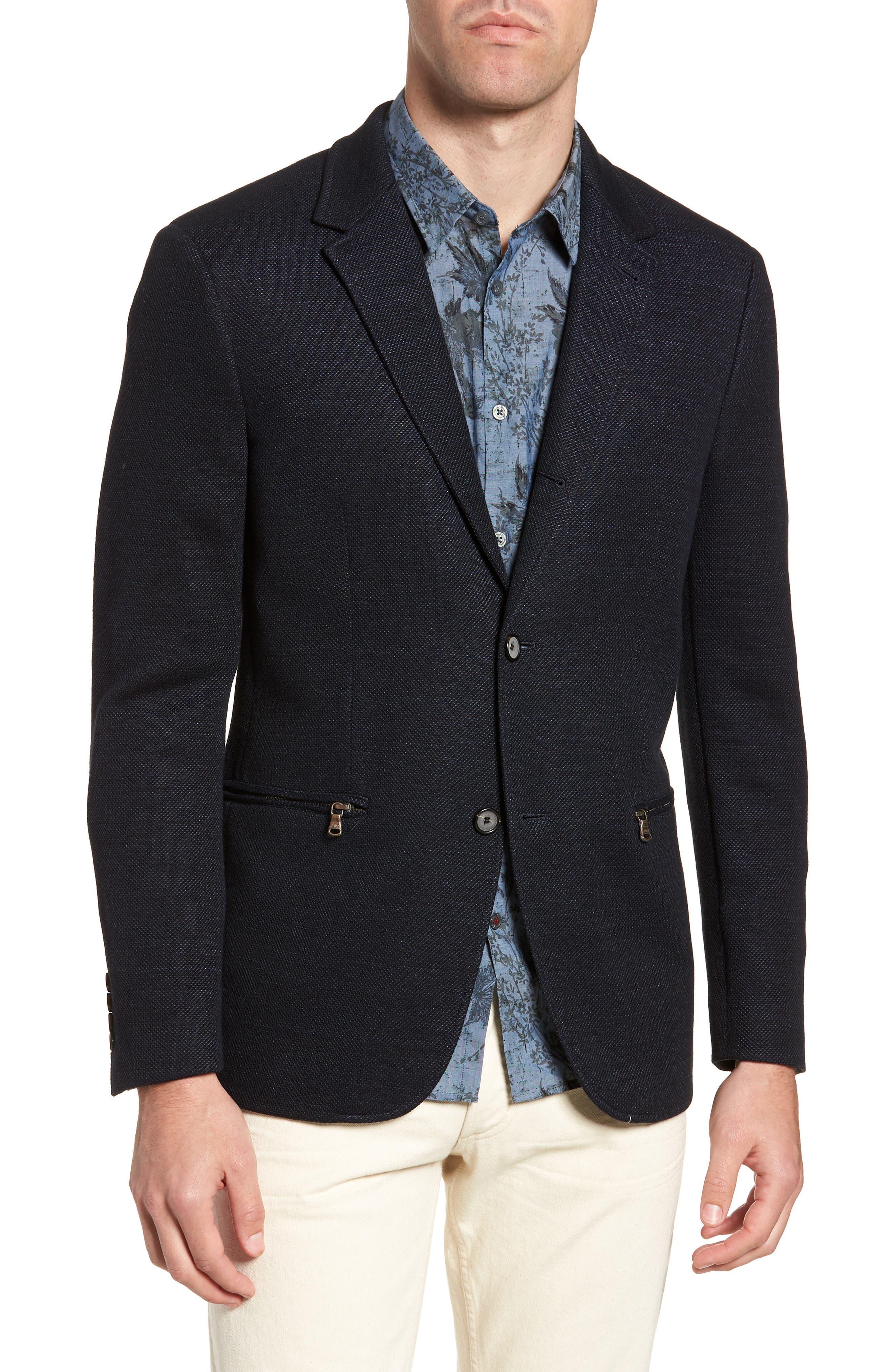 Regular Fit Cotton & Linen Blazer,                         Main,                         color, 405