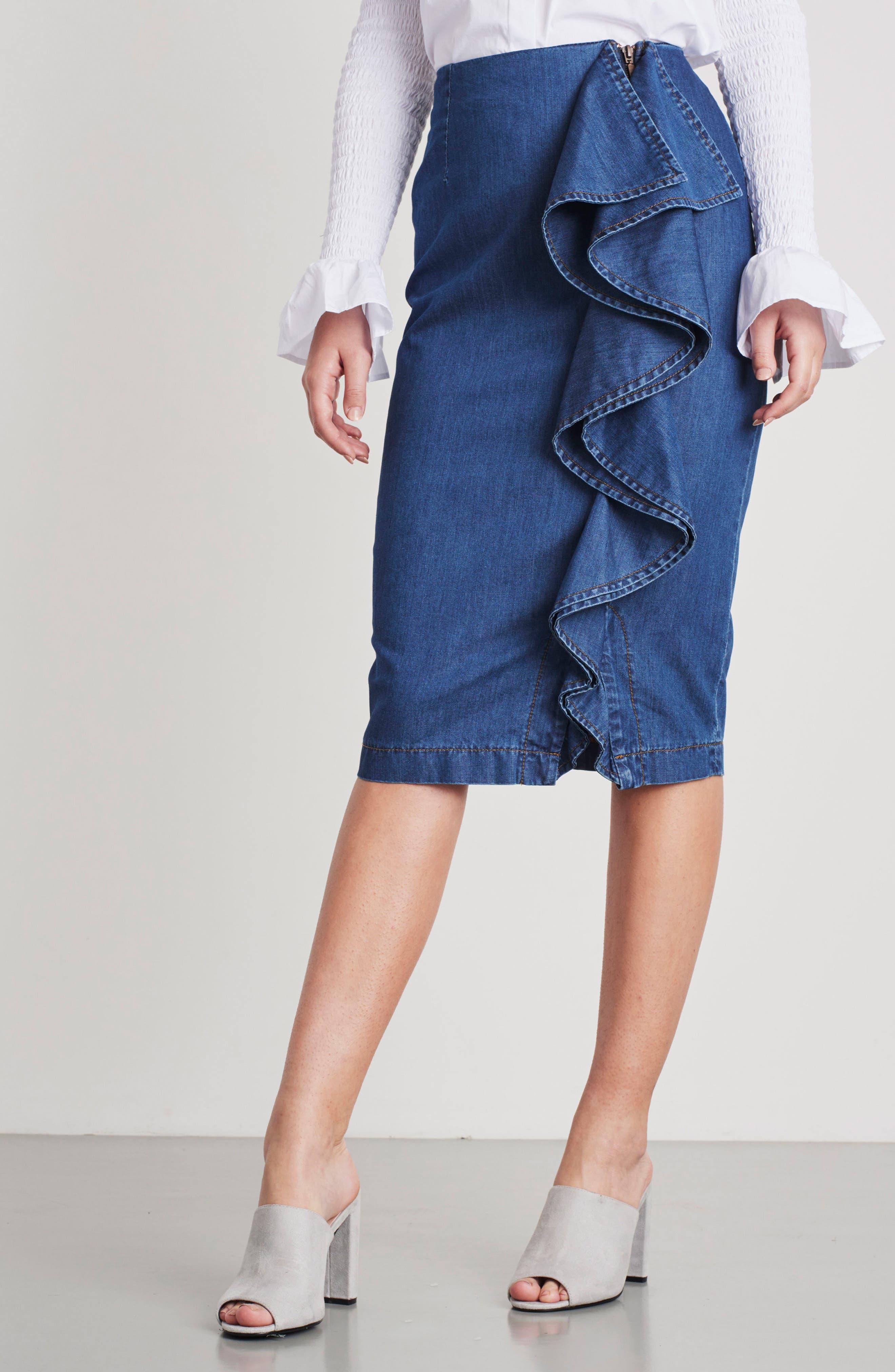 Side Ruffle Denim Pencil Skirt,                             Alternate thumbnail 8, color,                             400