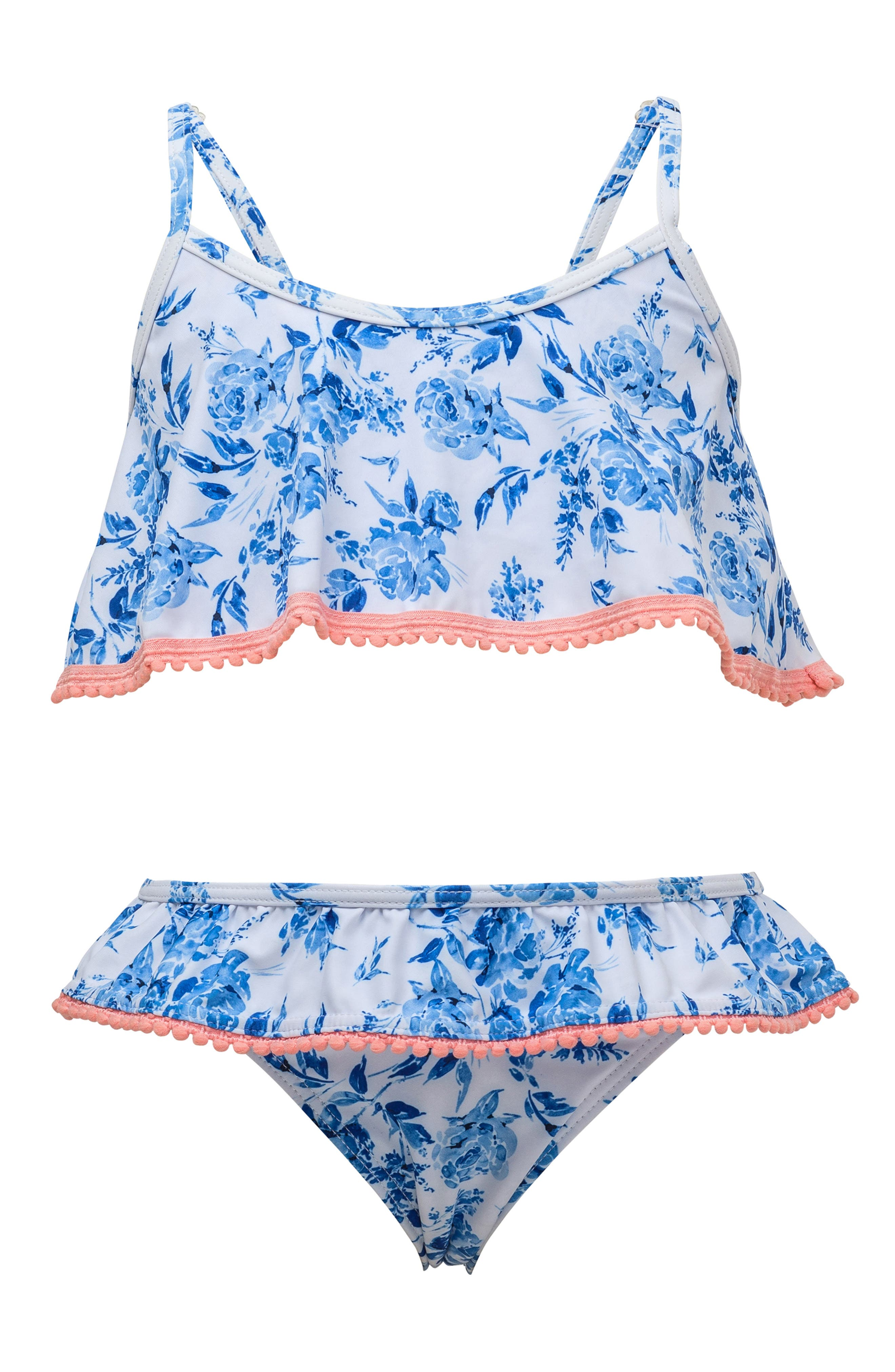 Flounce Two-Piece Swimsuit,                             Main thumbnail 1, color,                             BLUE WHITE FLORAL
