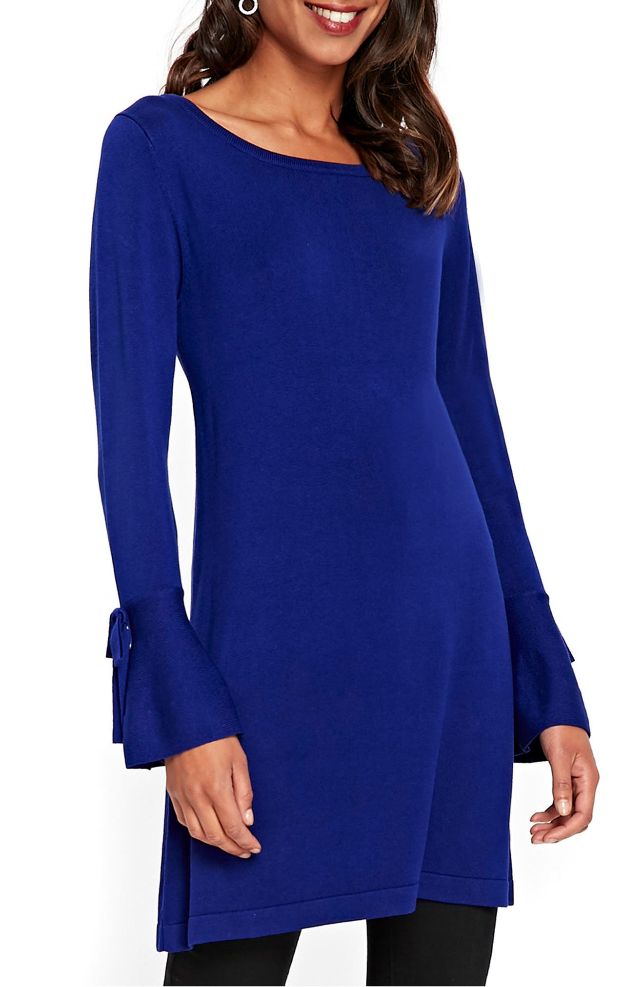 Knitted Bow Sleeve Shift Dress,                         Main,                         color, 401