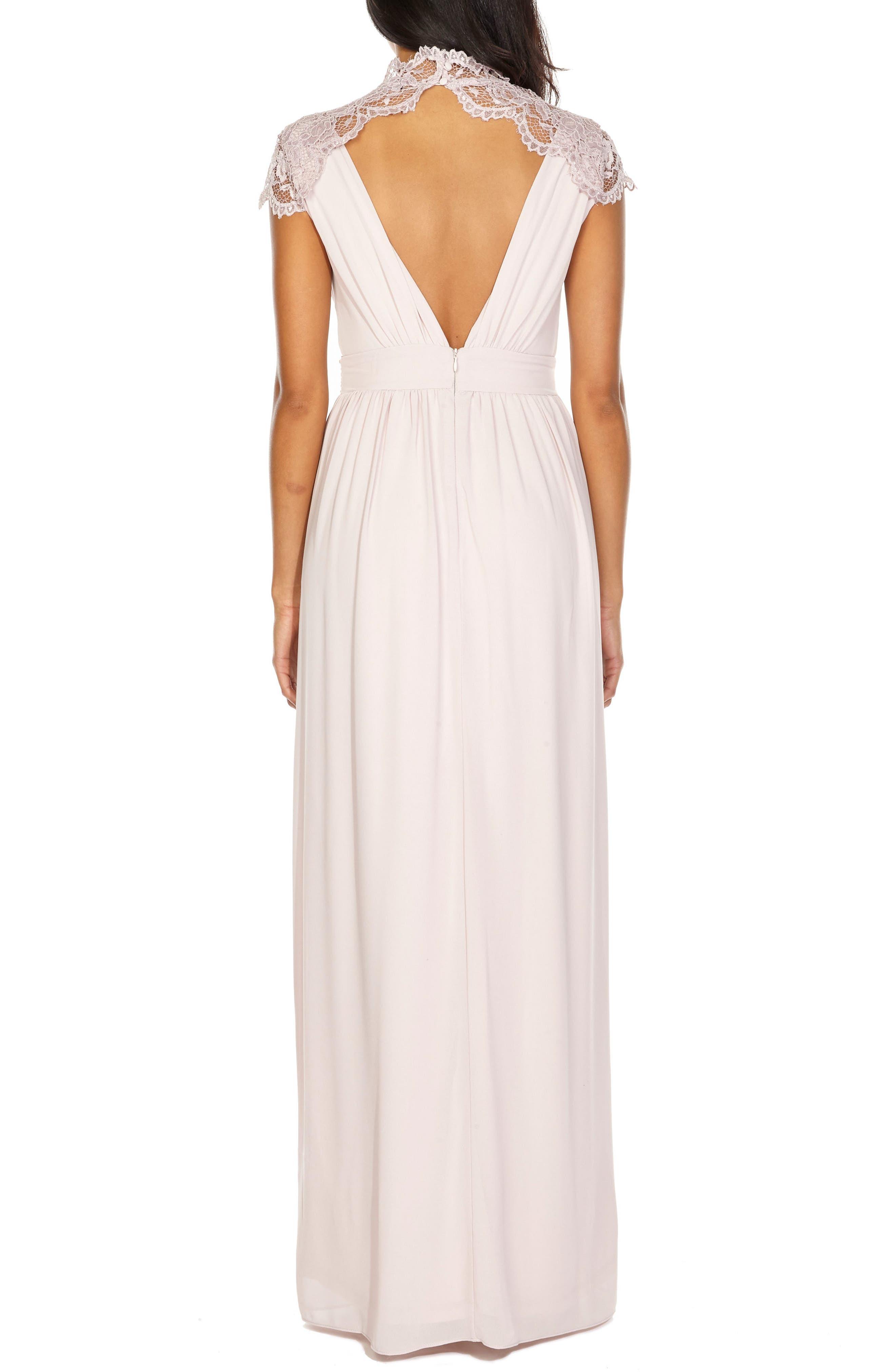 Sanna Lace Trim Chiffon Gown,                             Alternate thumbnail 2, color,                             NEW MINK