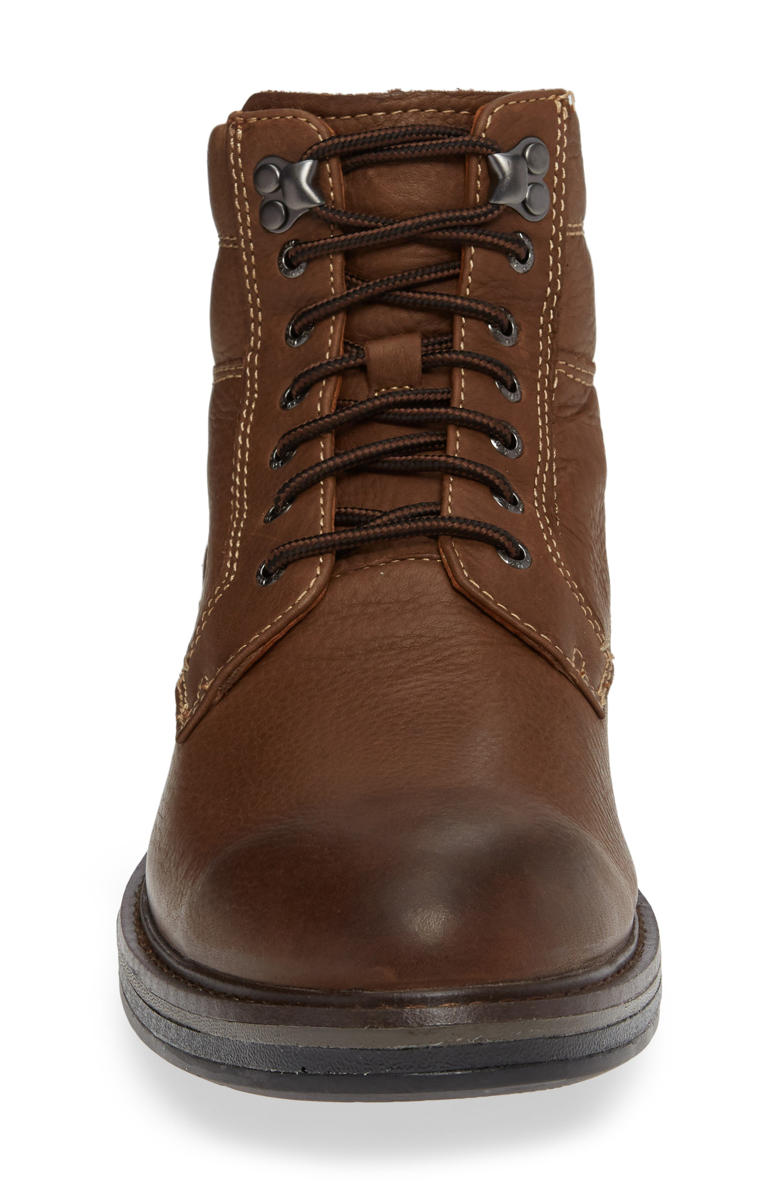 Rutledge Genuine Shearling Lined Waterproof Boot,                             Alternate thumbnail 4, color,                             BROWN OILED LEATHER