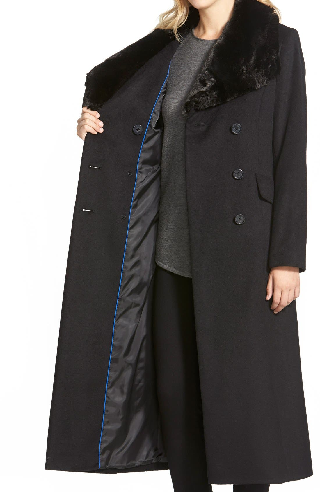 Long Wool Blend Coat with Faux Fur Collar,                             Alternate thumbnail 6, color,                             001