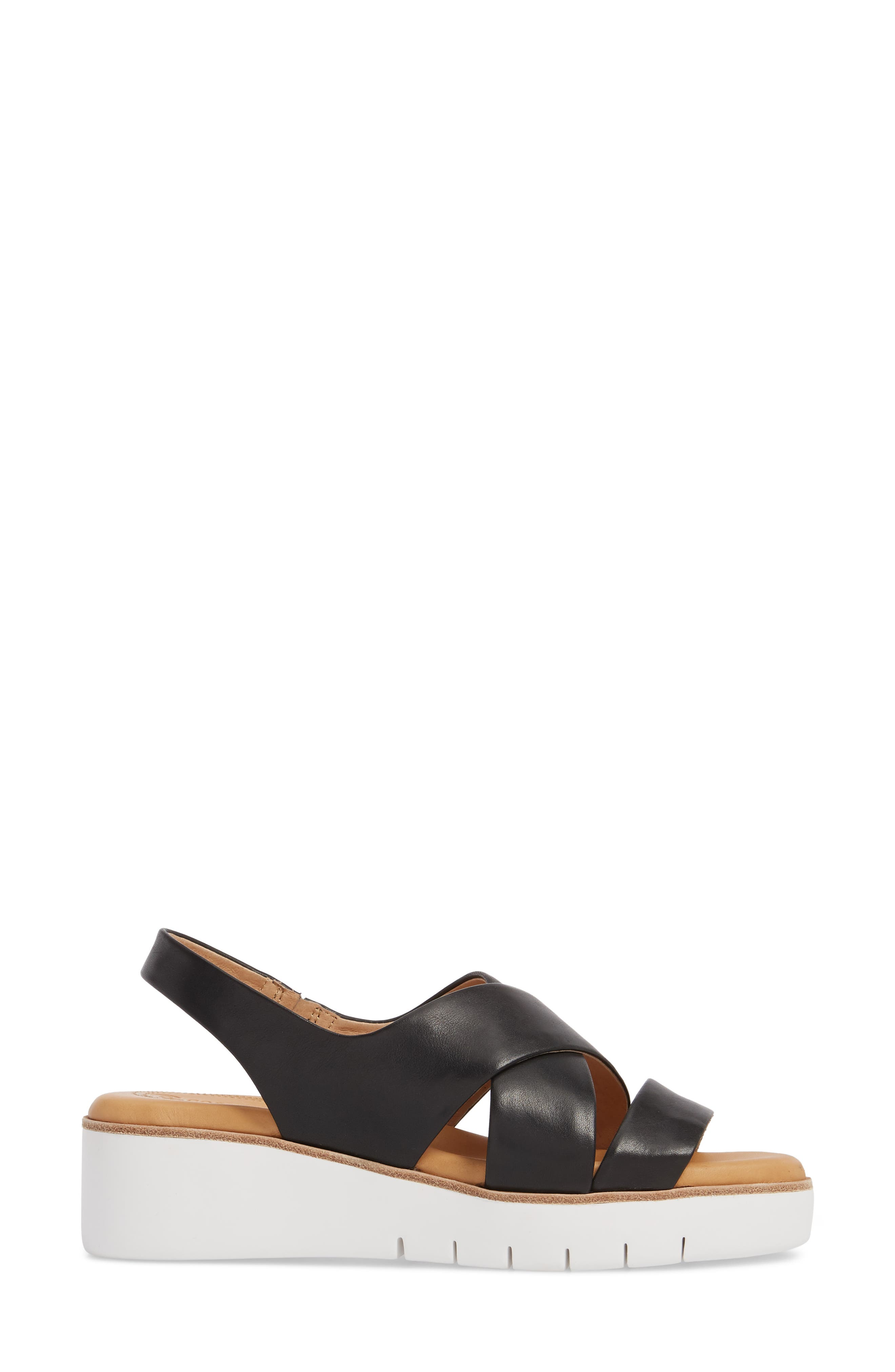 Brinney Wedge Sandal,                             Alternate thumbnail 3, color,                             BLACK LEATHER