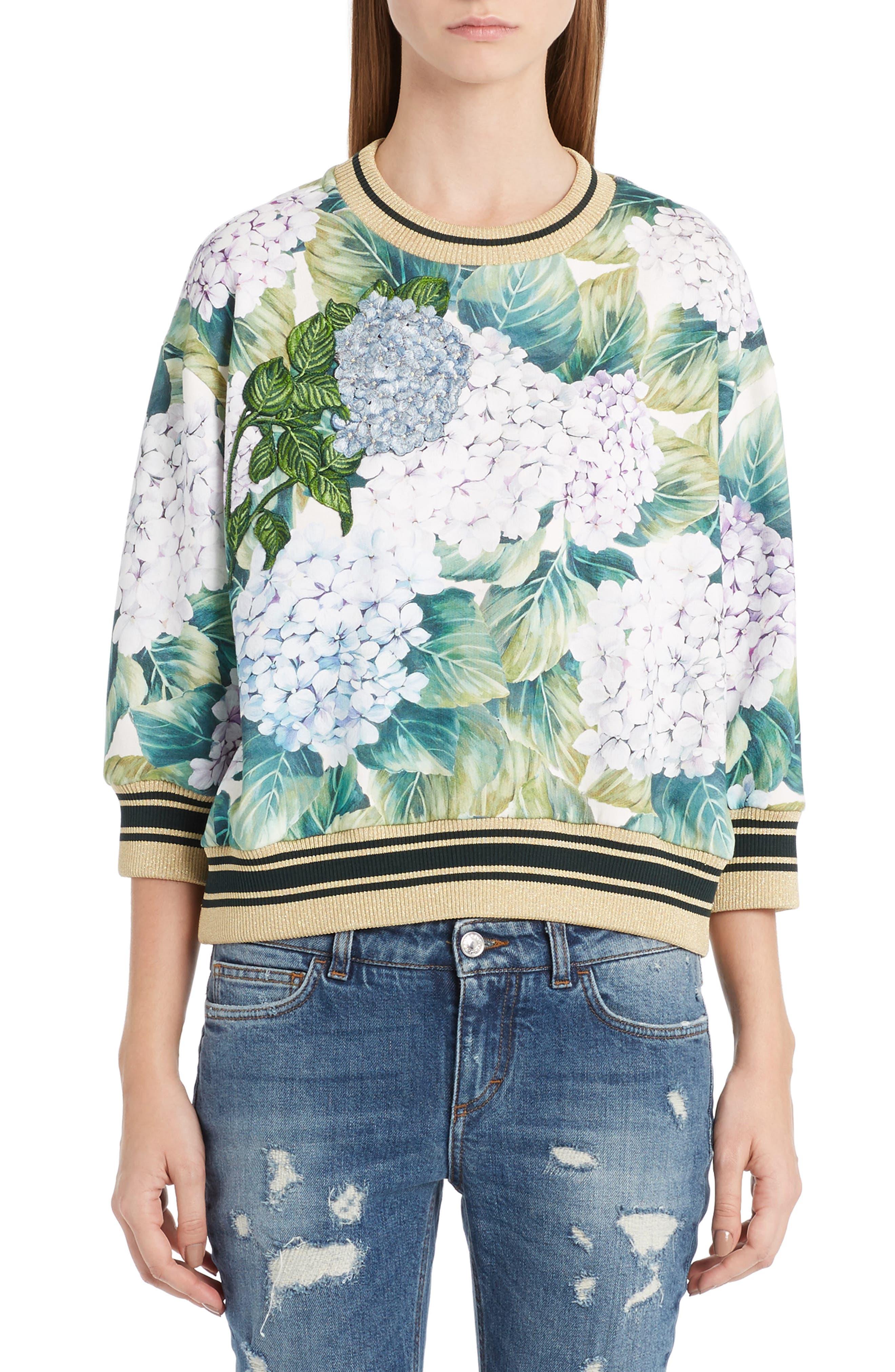 Hydrangea Print Sweatshirt,                         Main,                         color, 301