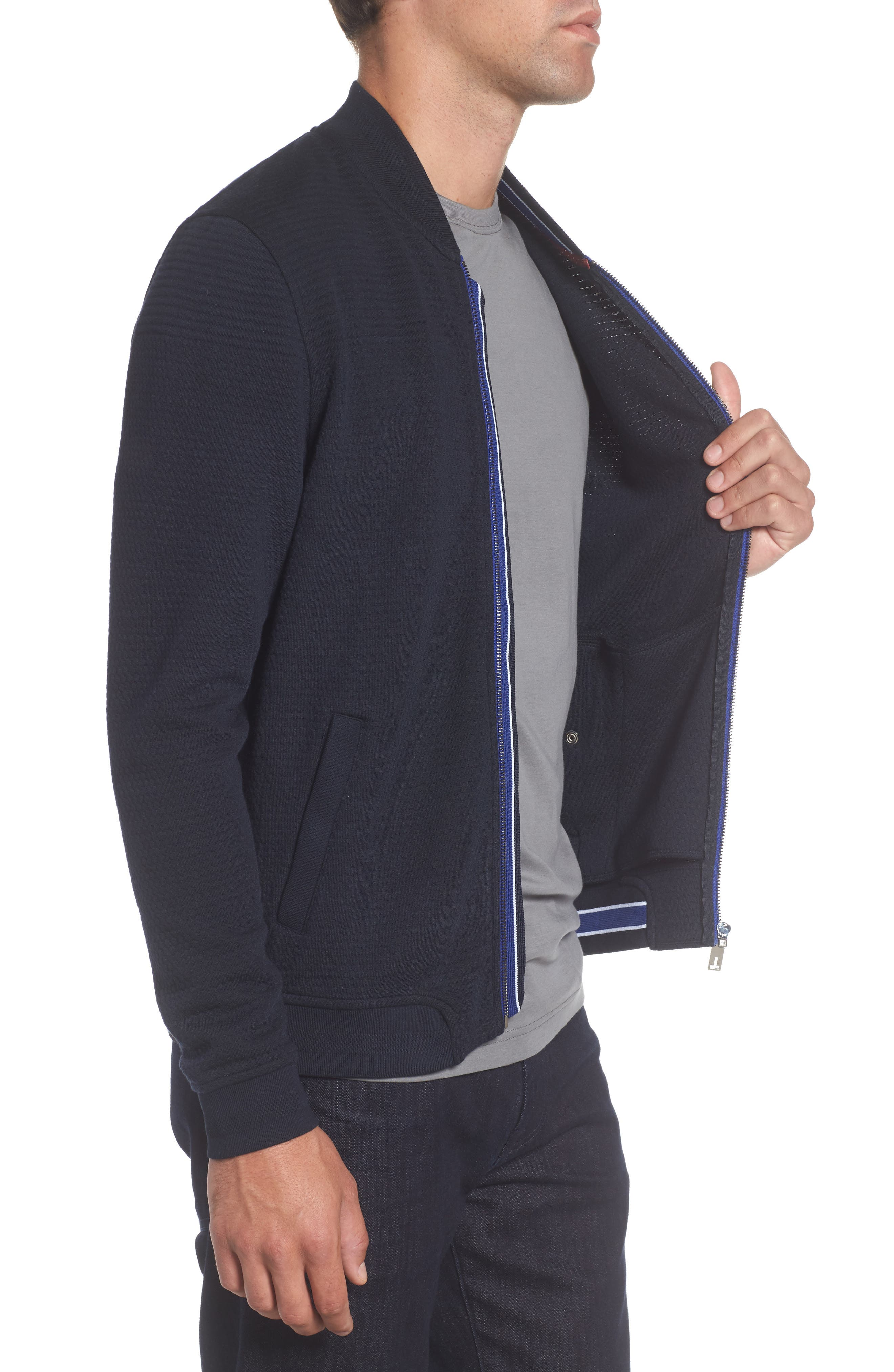 Clive Quilted Jersey Bomber Jacket,                             Alternate thumbnail 3, color,