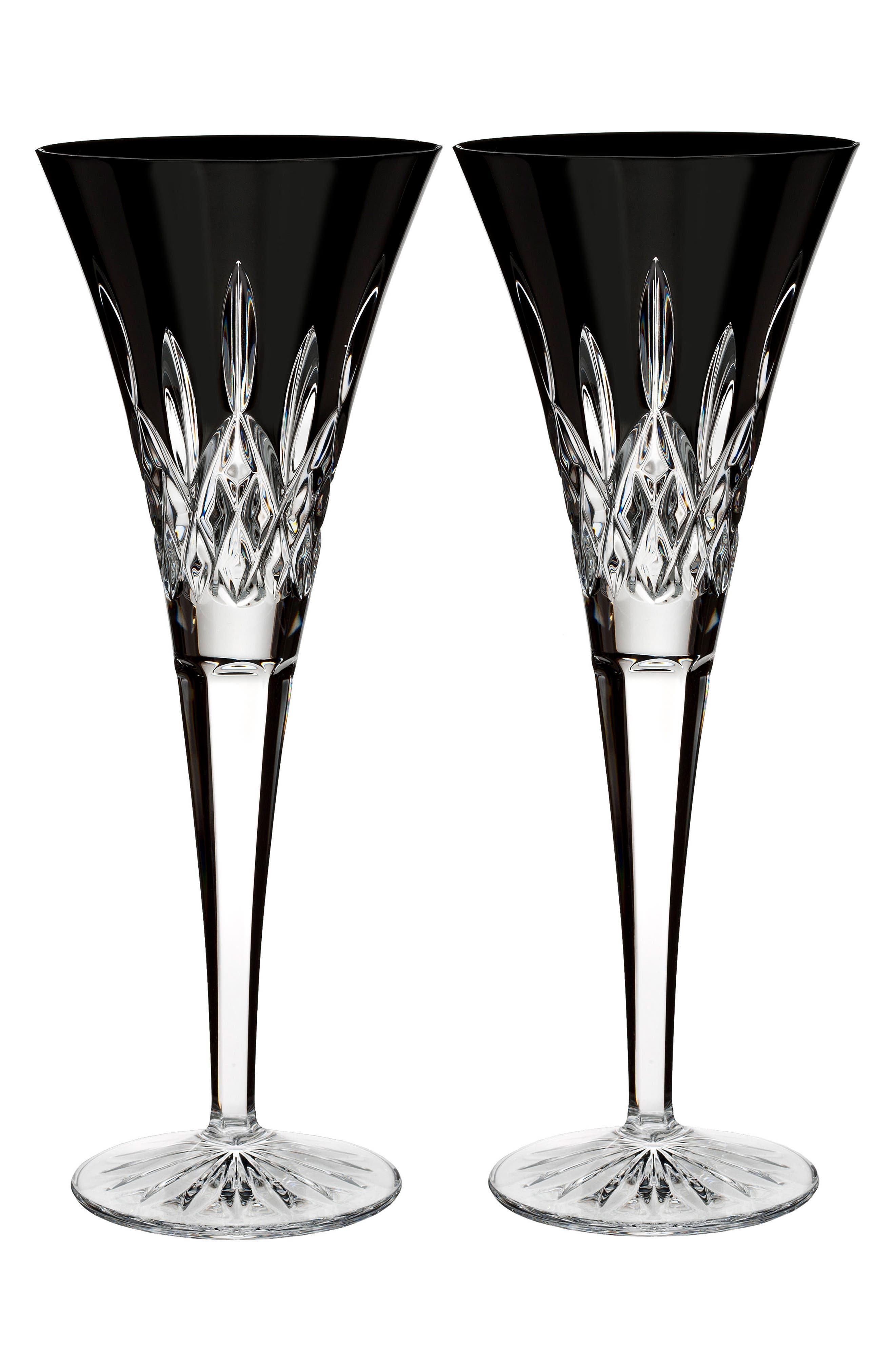 Lismore Diamond Set of 2 Black Lead Crystal Champagne Flutes,                             Main thumbnail 1, color,                             001