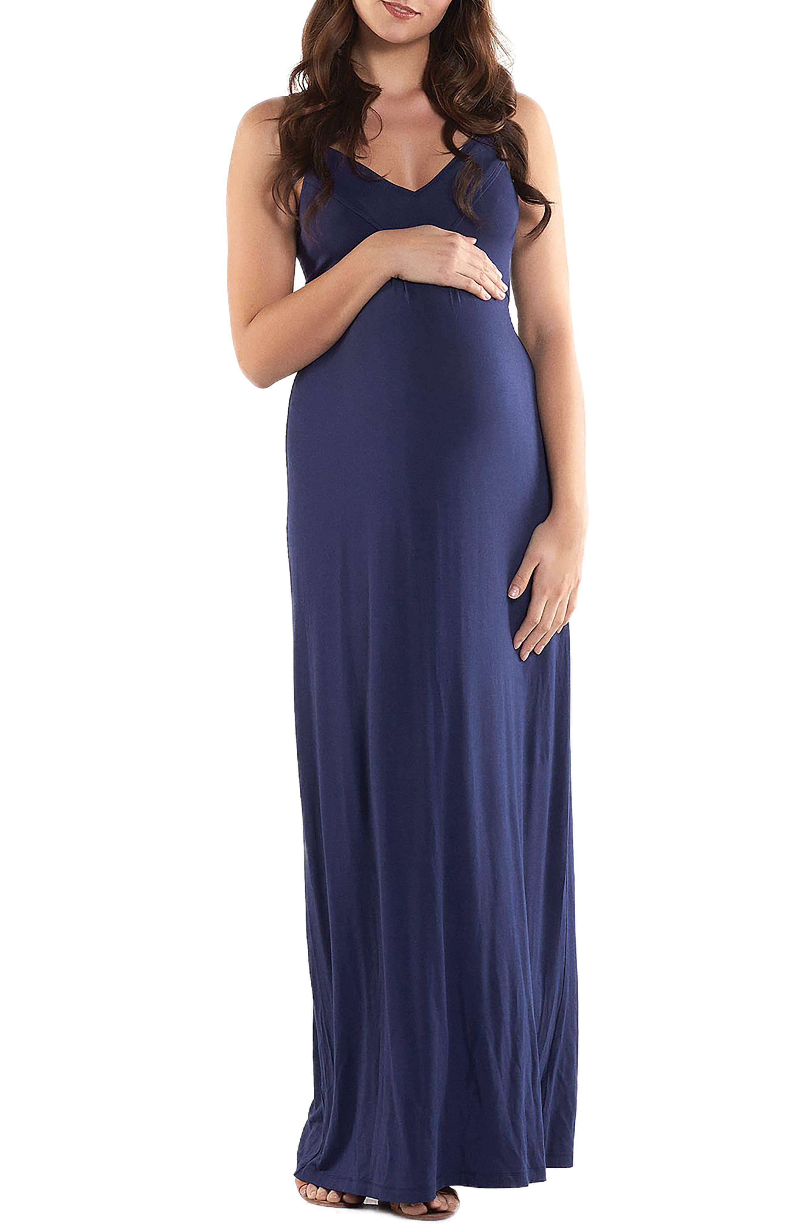 'Lynelle' Maternity Maxi Dress,                             Main thumbnail 1, color,                             PEACOAT
