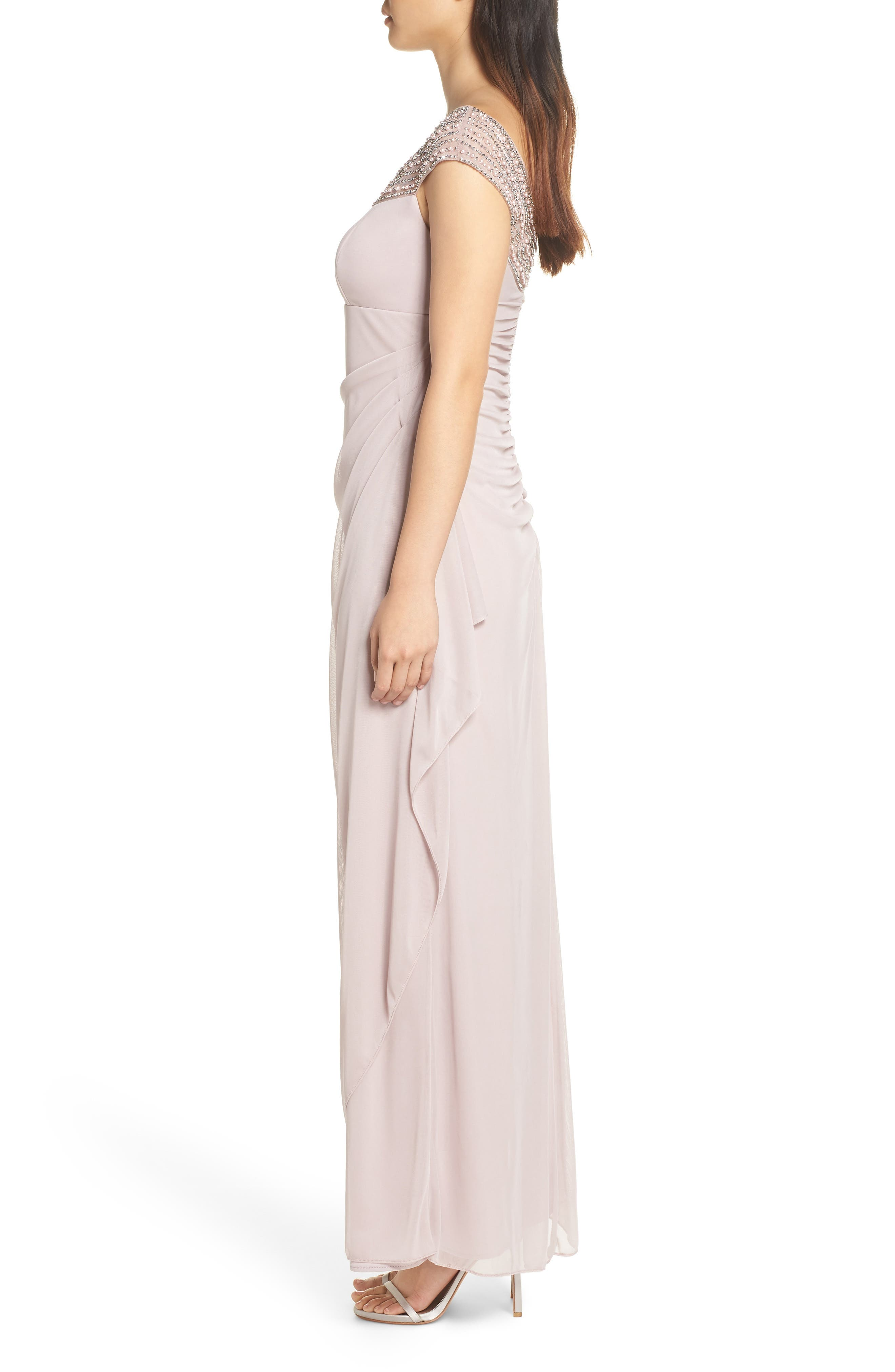 Bead Embellished Gown,                             Alternate thumbnail 3, color,                             TAUPE/ SILVER
