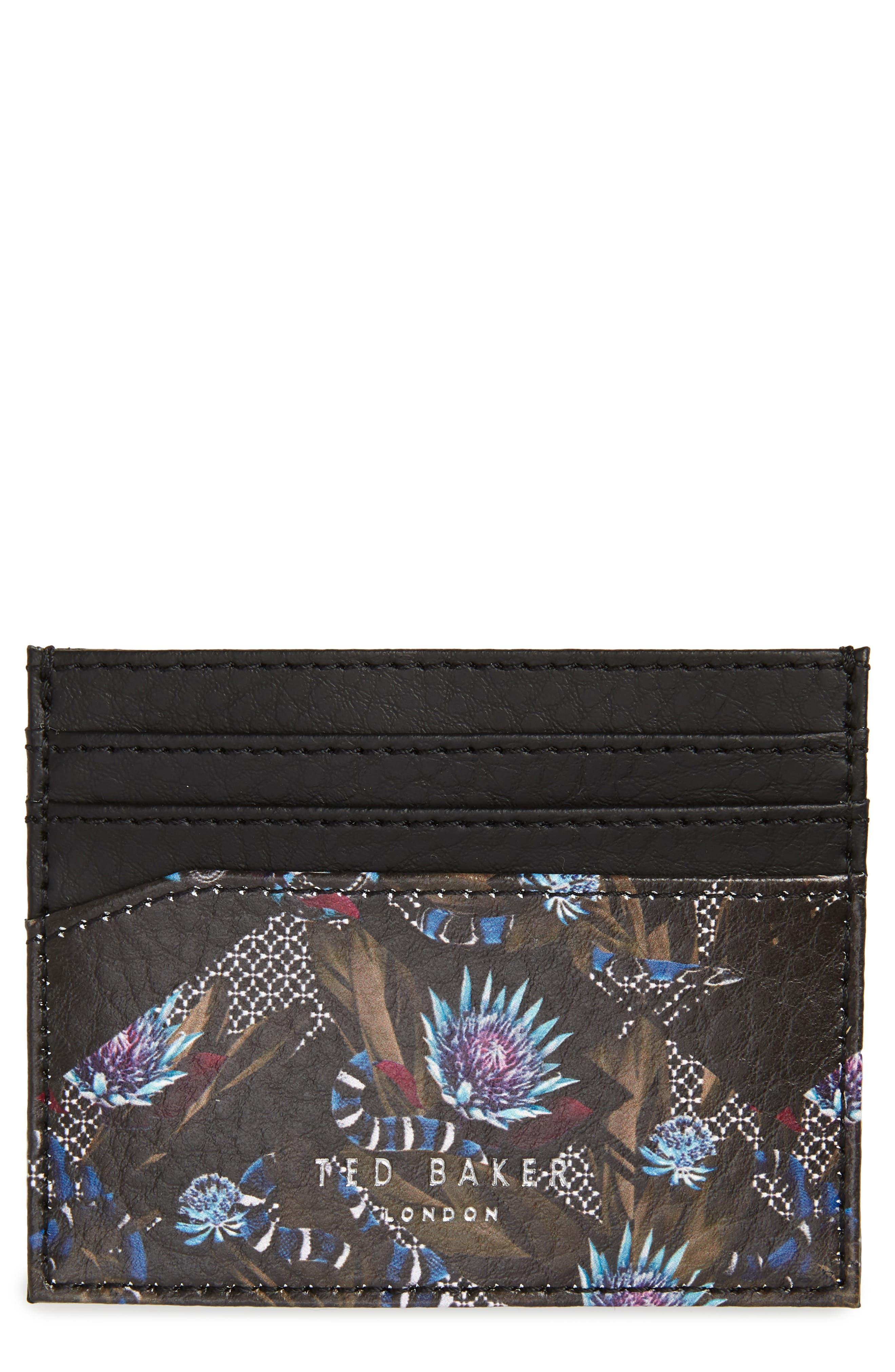 Print Leather Card Case, Main, color, NAVY