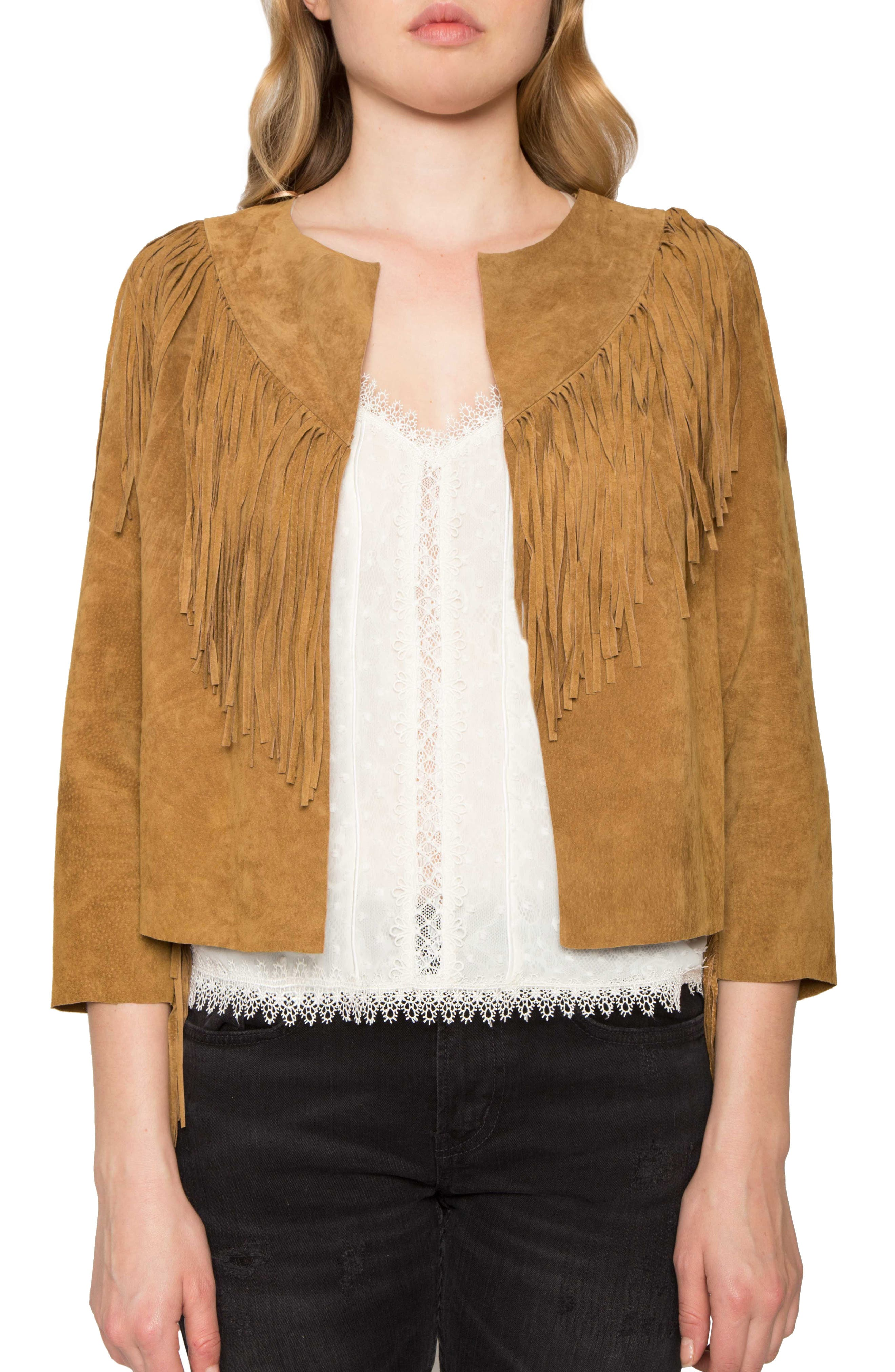 Crop Fringe Suede Jacket,                             Main thumbnail 1, color,                             200