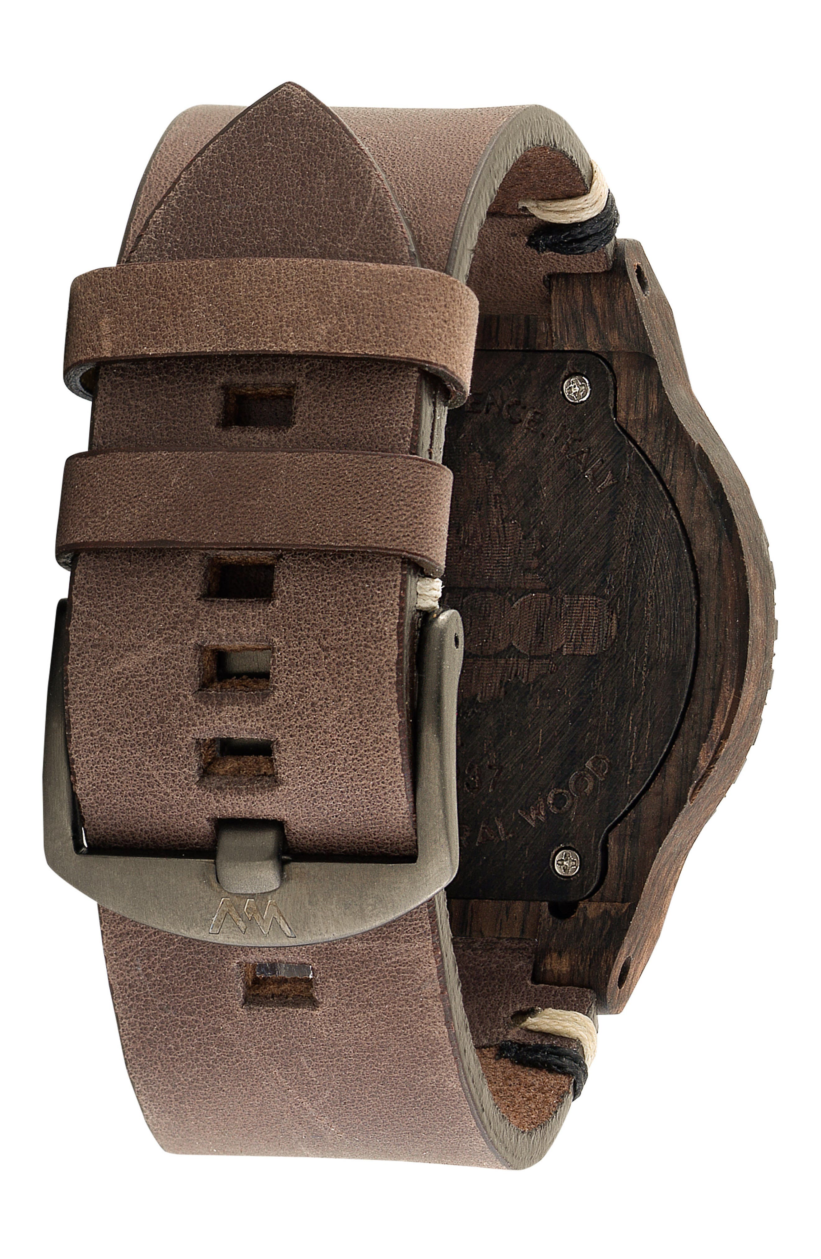 Alpha Wood Leather Strap Watch, 46mm,                             Alternate thumbnail 2, color,                             200