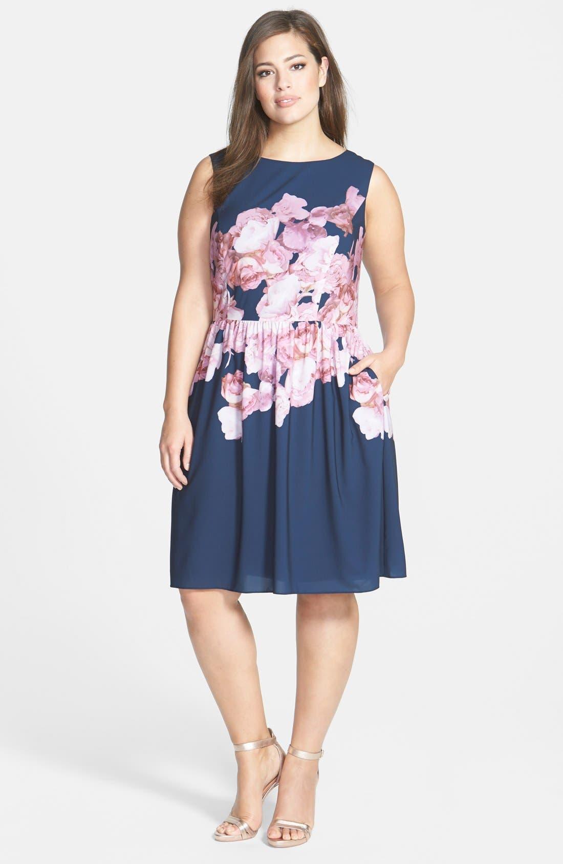 Floral Print Chiffon Fit & Flare Dress,                             Alternate thumbnail 4, color,                             463