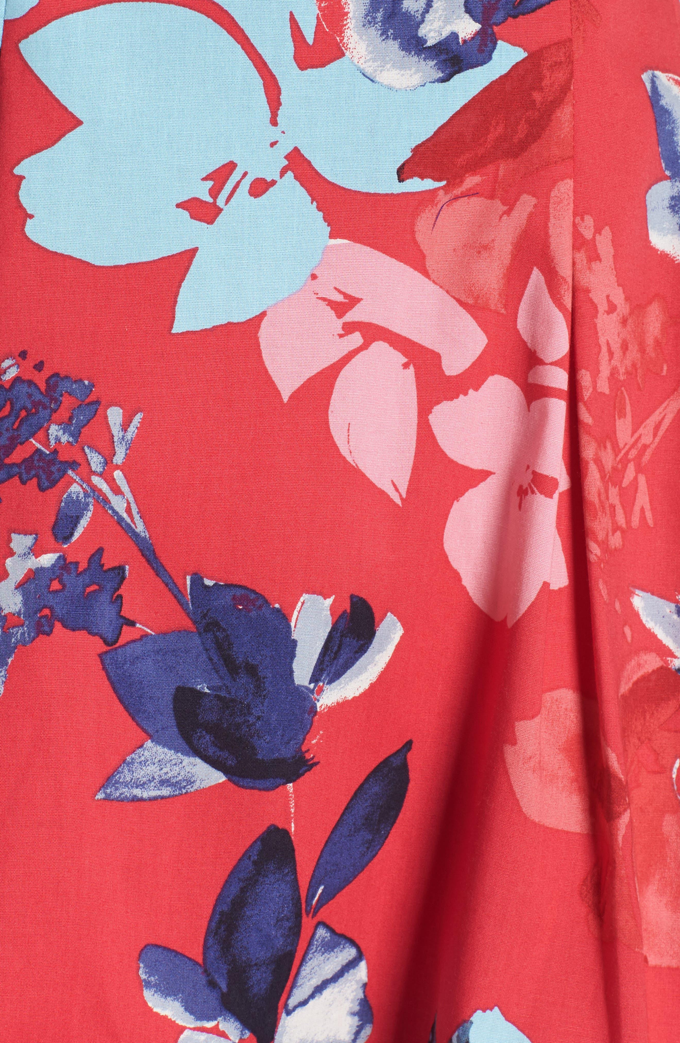 Floral Cotton Fit & Flare Dress,                             Alternate thumbnail 6, color,                             653