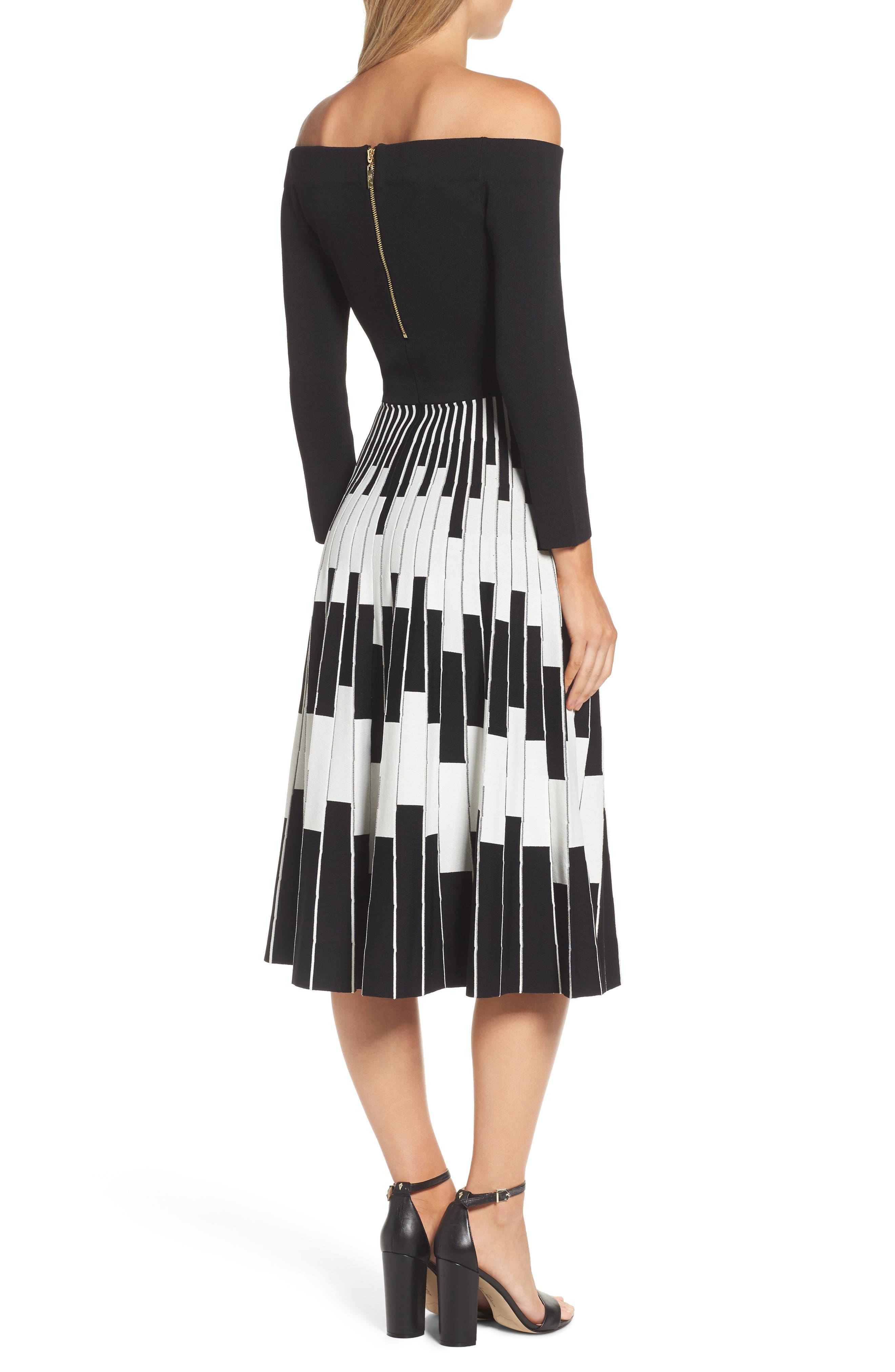 Off the Shoulder Midi Dress,                             Alternate thumbnail 2, color,                             BLACK/ IVORY