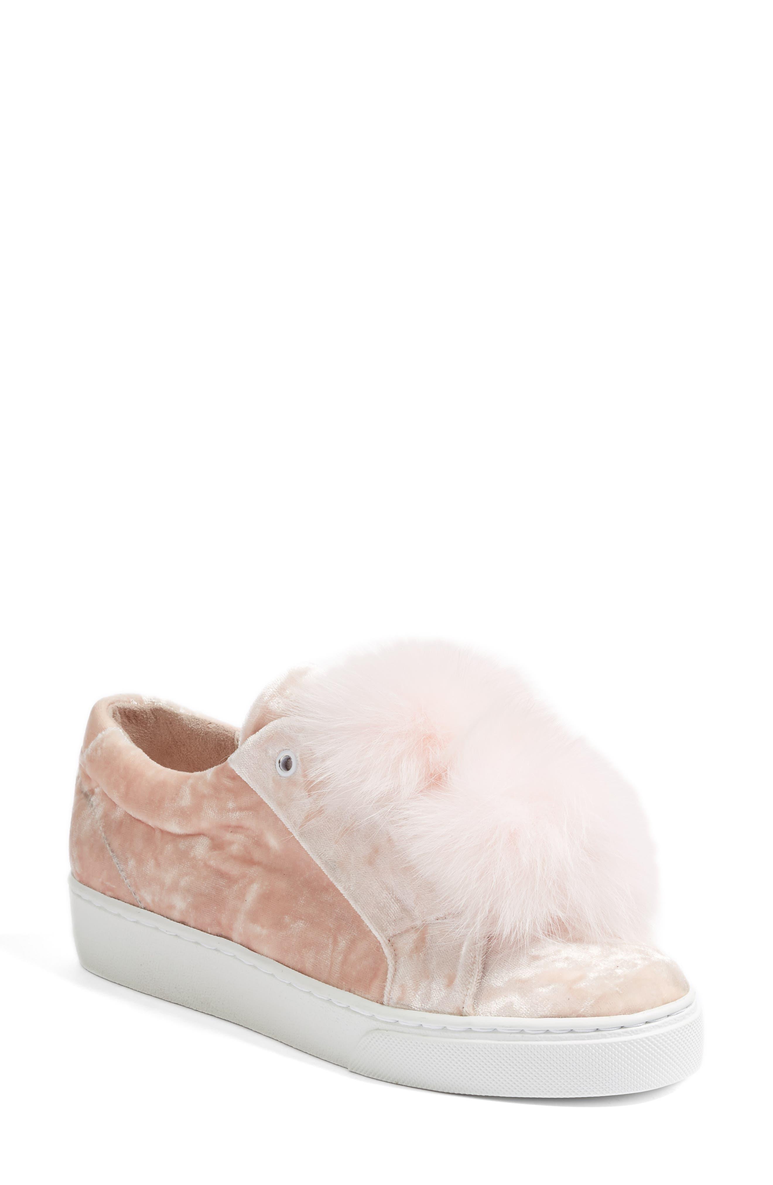 Emma Genuine Fox Fur Trim Sneaker,                         Main,                         color, 650