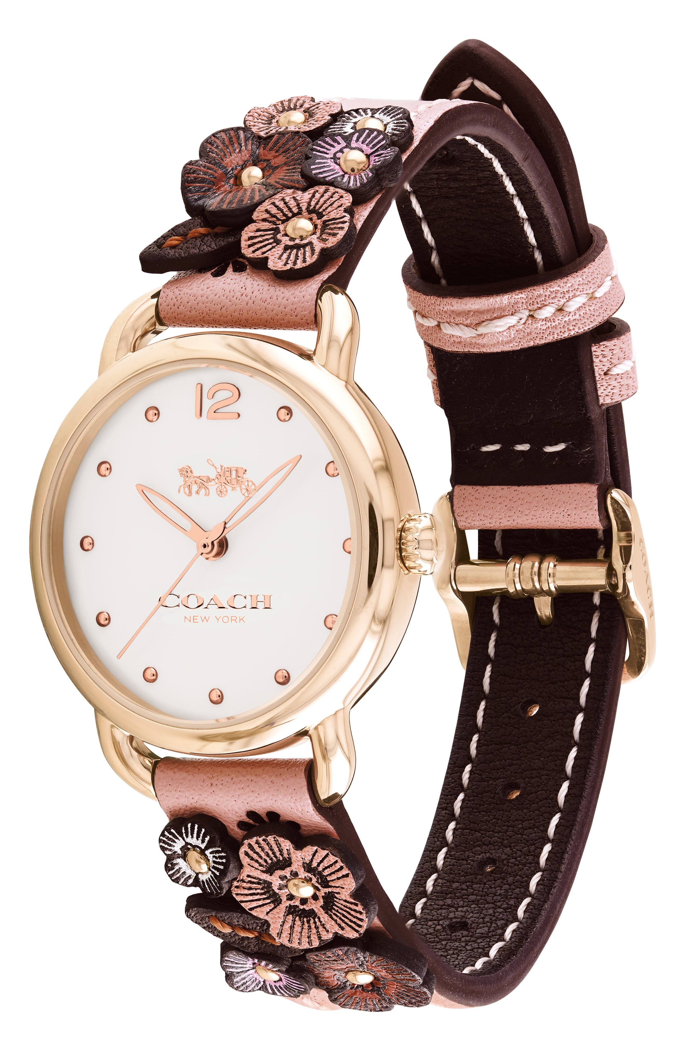 Delancey Floral Leather Strap Watch, 28mm,                             Alternate thumbnail 3, color,                             PINK/ WHITE/ ROSE GOLD