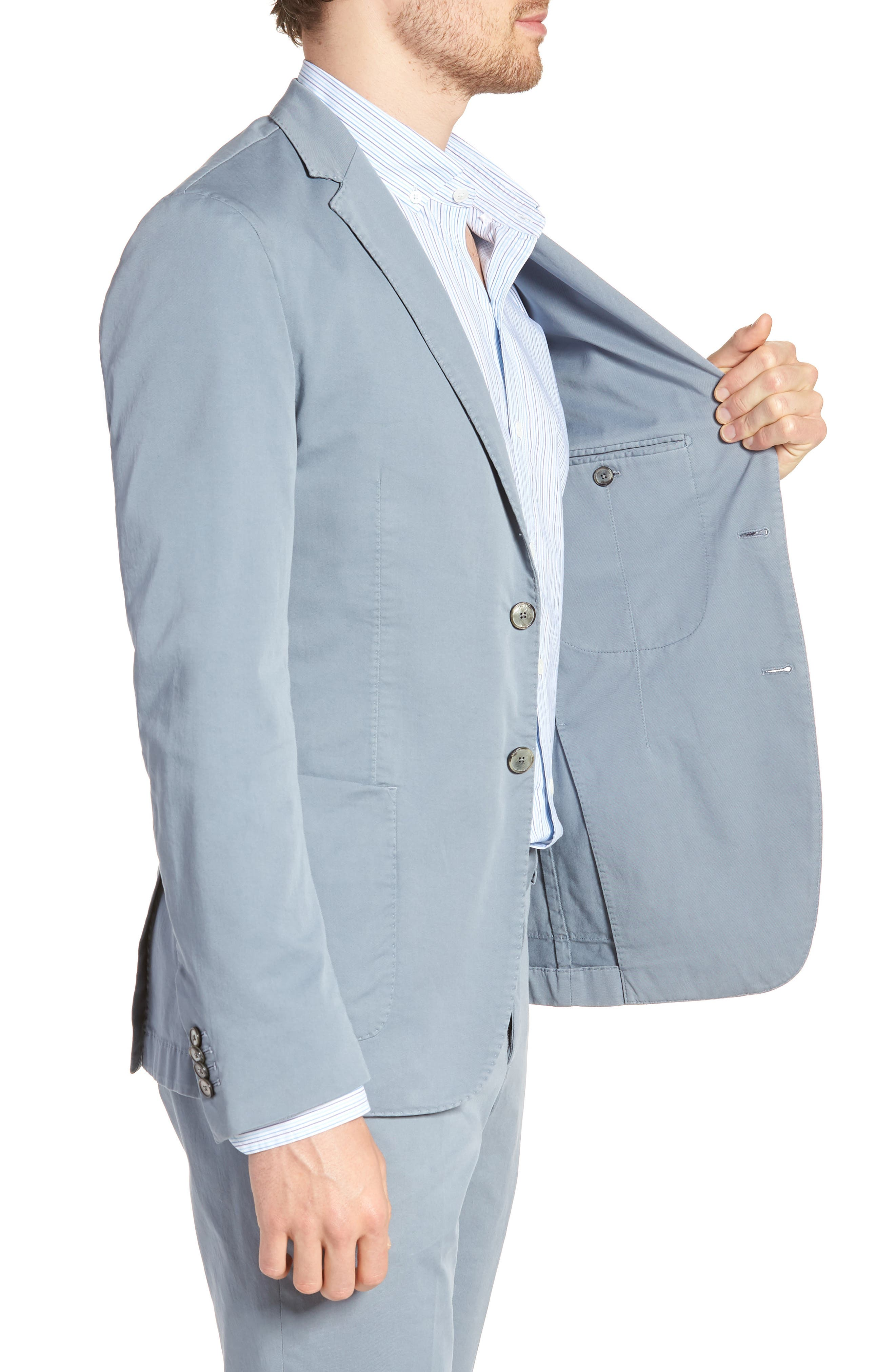 BOSS,                             Hanry-D Trim Fit Stretch Cotton Blazer,                             Alternate thumbnail 3, color,                             BLUE