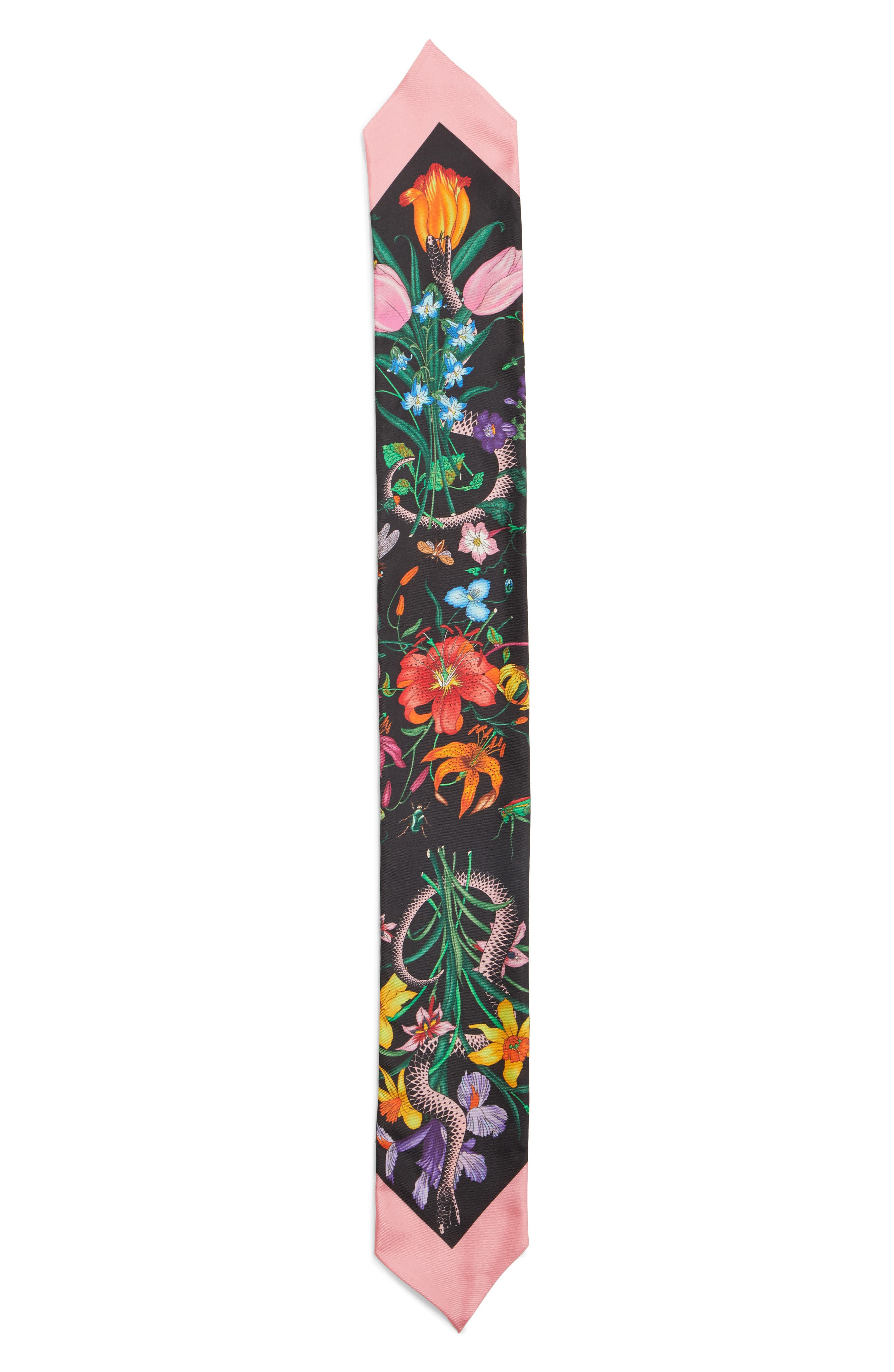 Flora Snake Silk Scarf,                             Main thumbnail 1, color,                             BLACK/ PINK