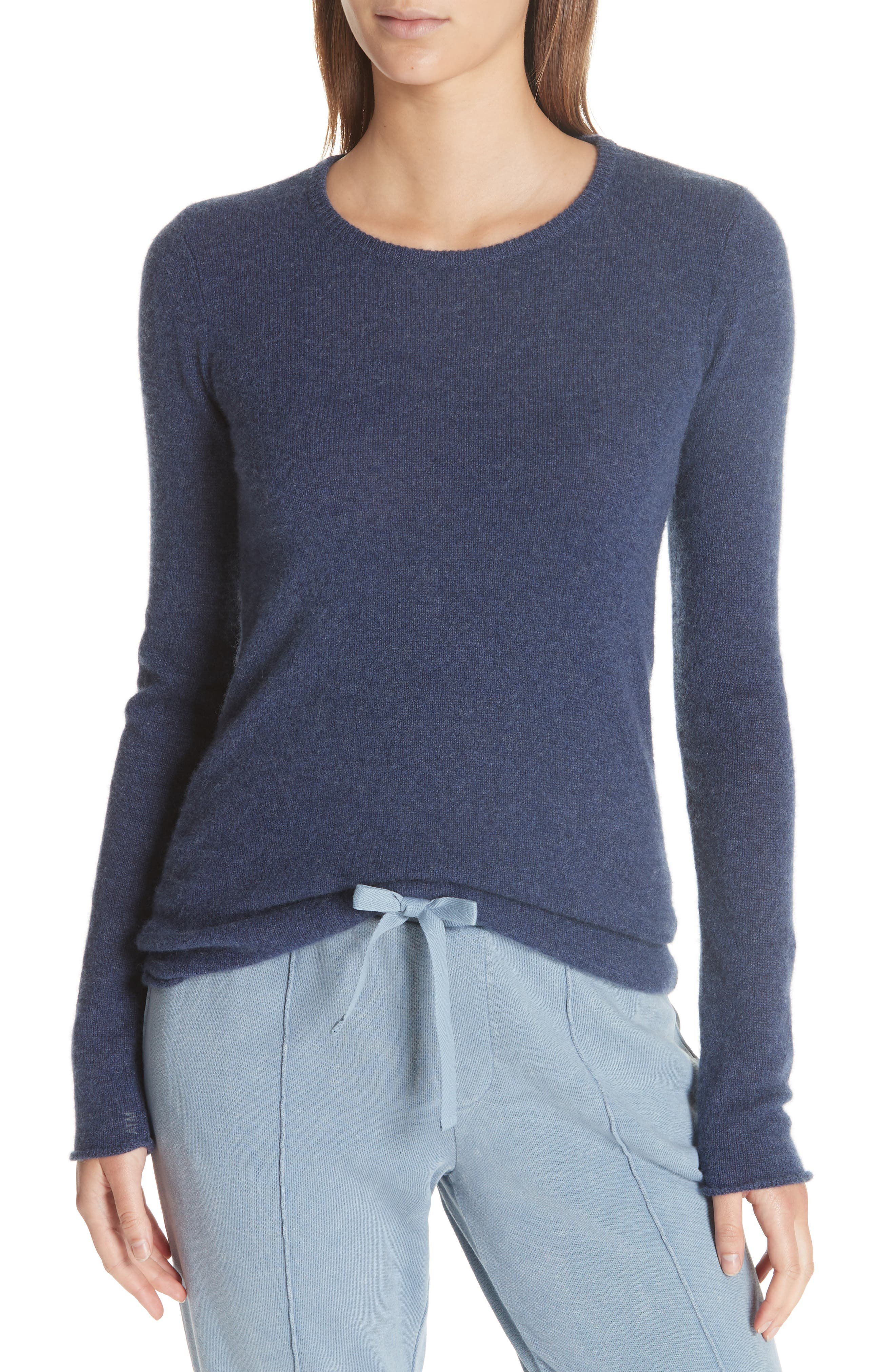 Cashmere Sweater,                             Main thumbnail 1, color,                             HEATHER NAVY