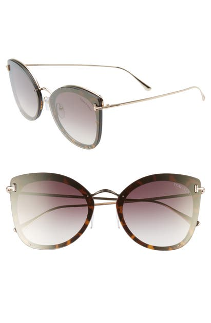 Tom Ford 62MM OVERSIZE BUTTERFLY SUNGLASSES - HAVANA/ ROSE GOLD/ GOLD