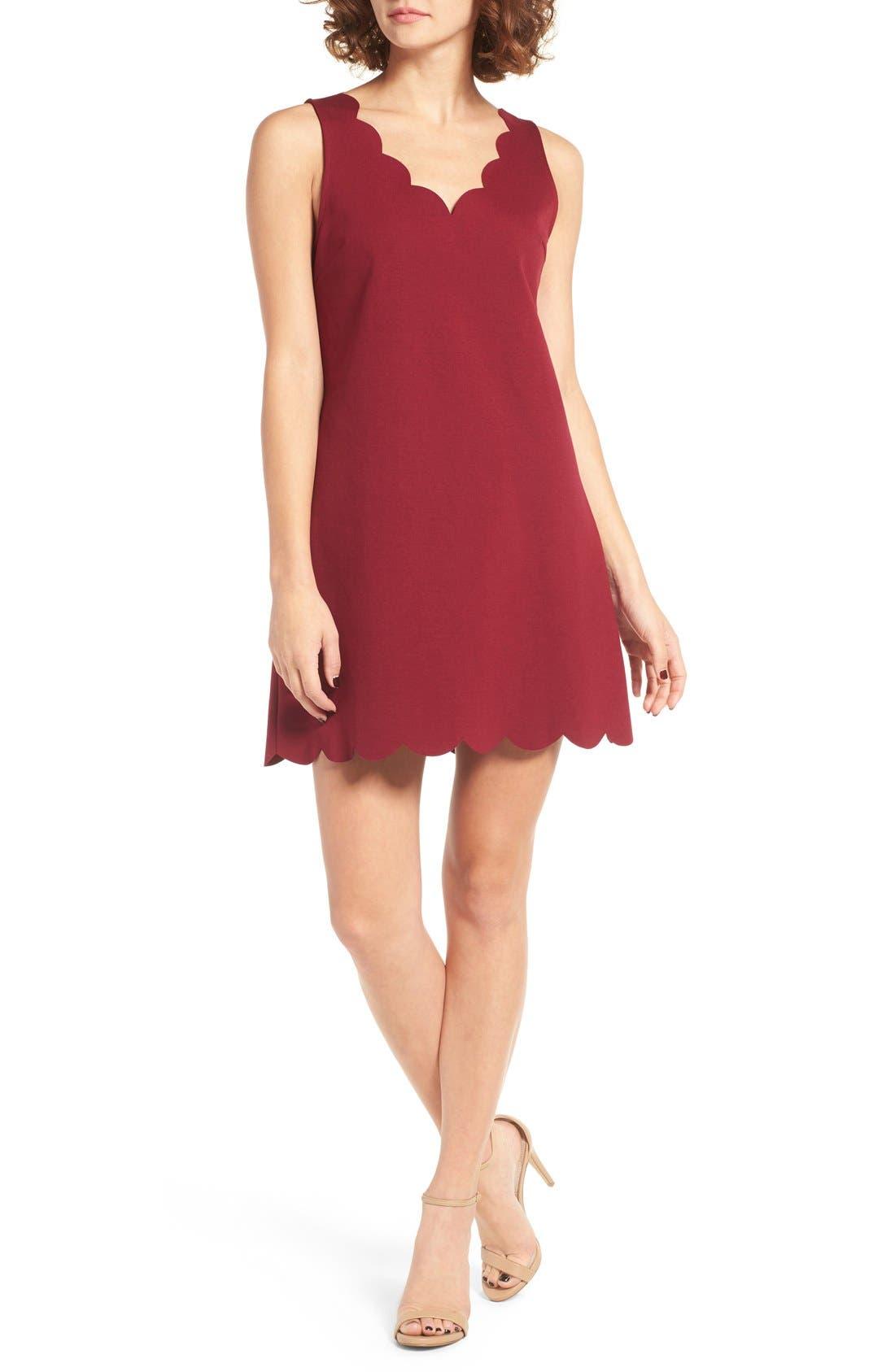Scalloped V-Neck A-Line Dress,                             Main thumbnail 1, color,                             690