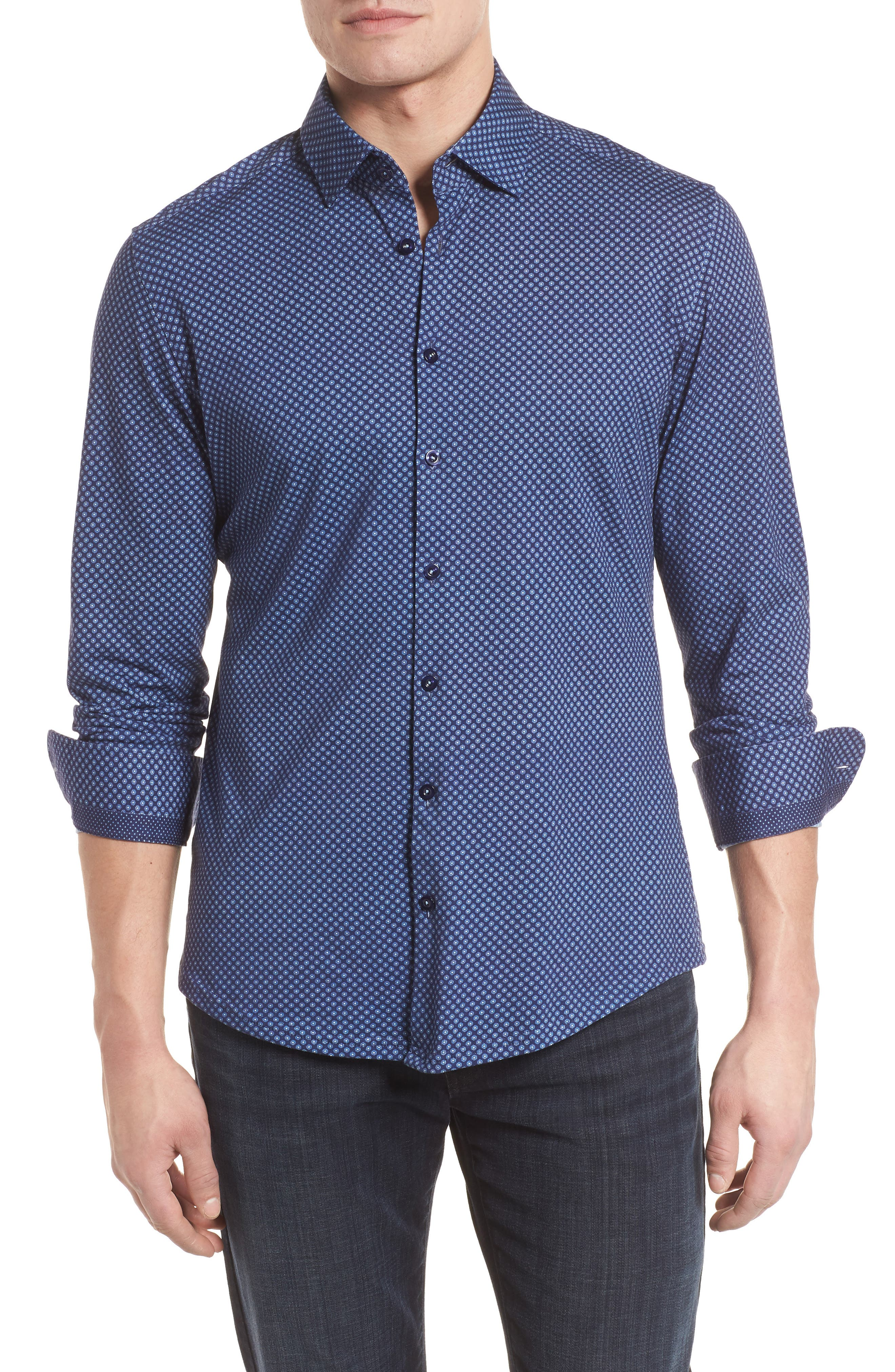 Floral Geo Print Knit Sport Shirt,                             Main thumbnail 1, color,