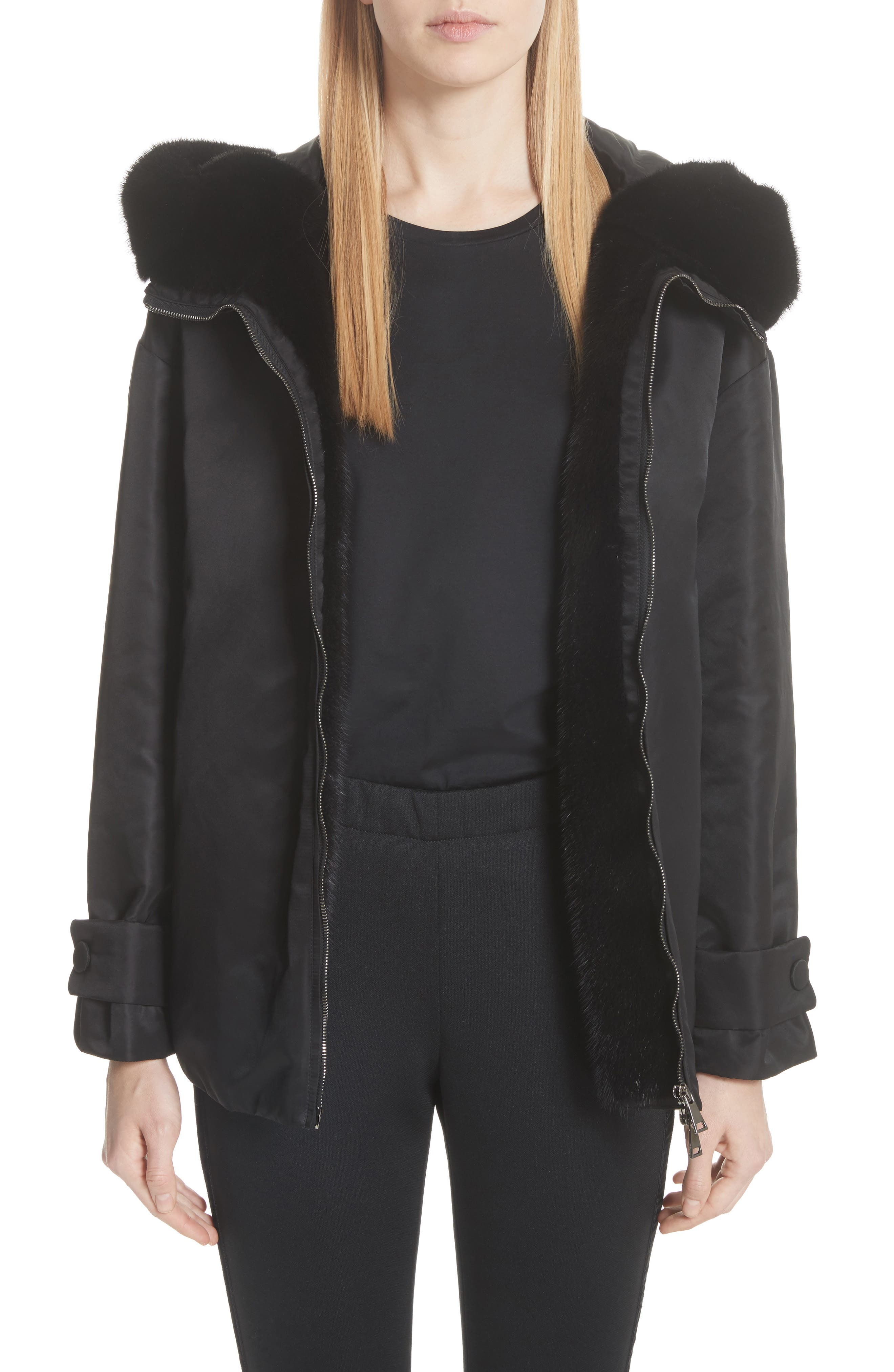 Moncler Bondree Genuine Mink Fur Trim Down Jacket, Black
