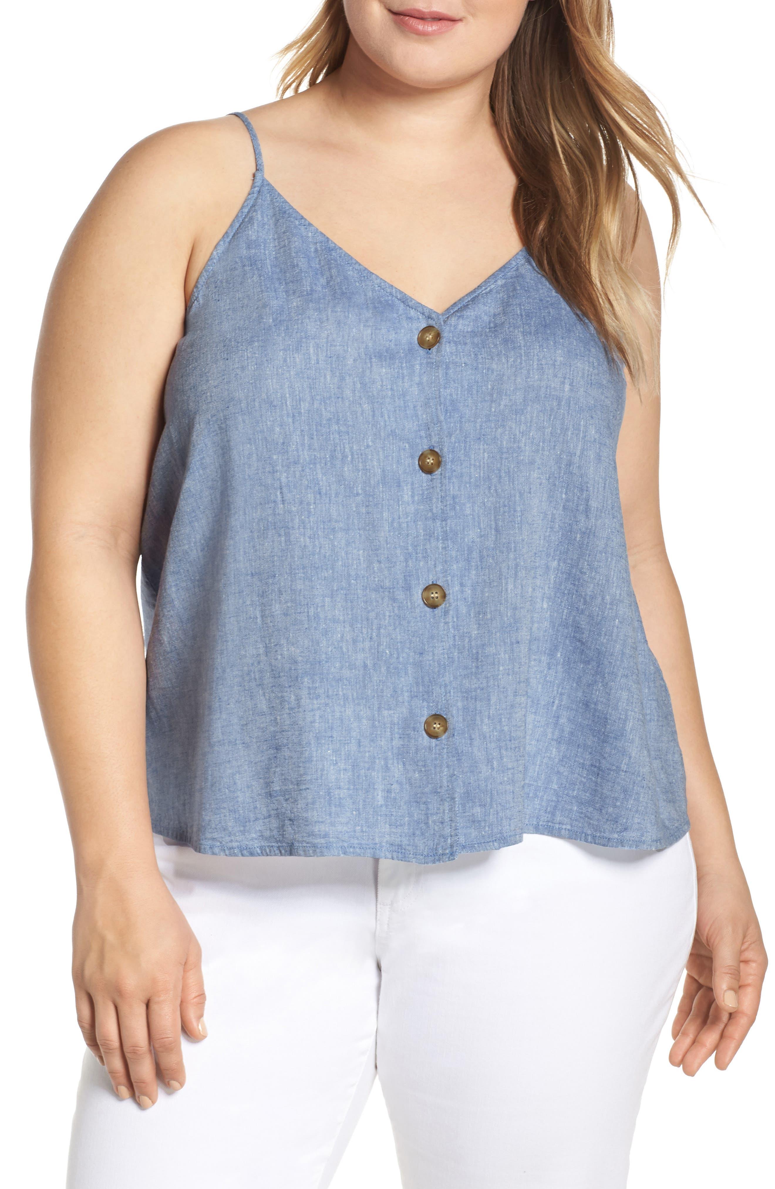 Plus Size Bp. Button Front Linen Blend Camisole Top