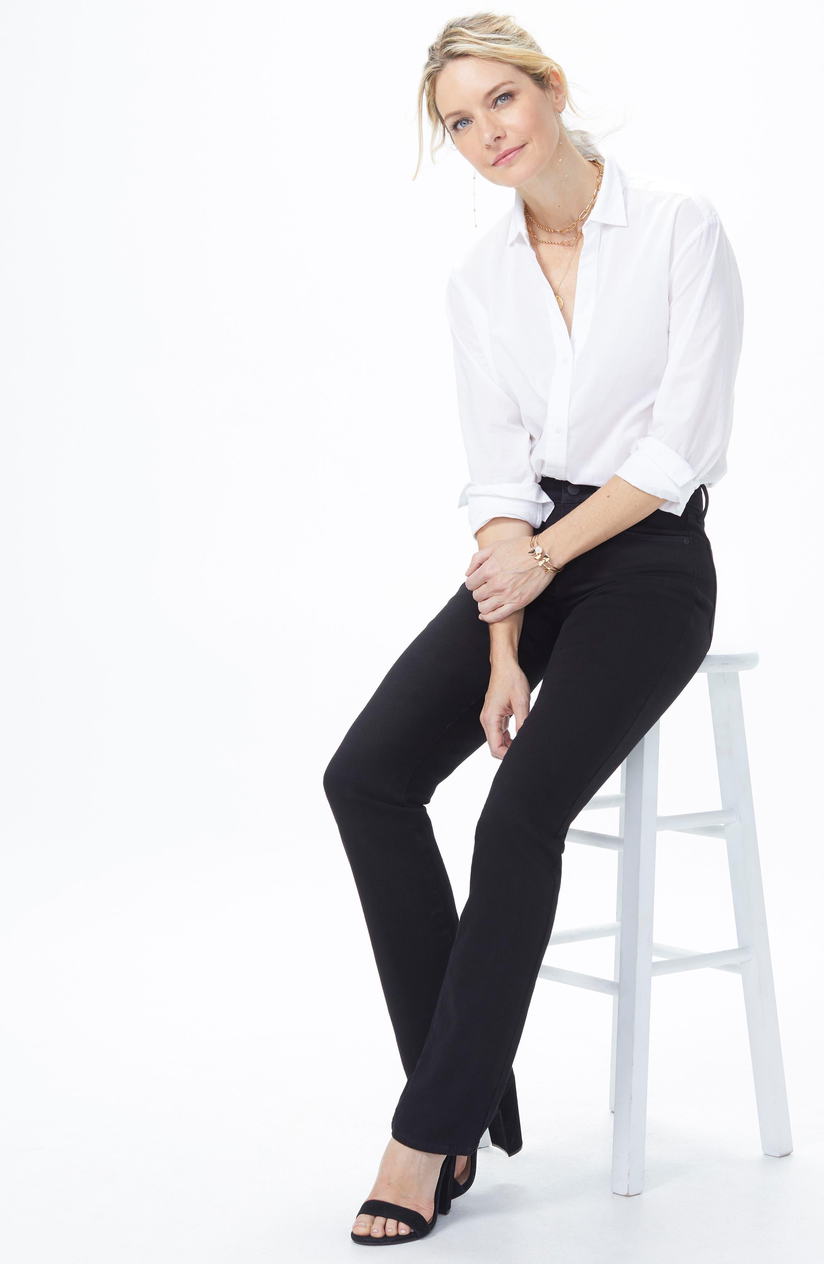 Marilyn High Waist Straight Jeans,                             Alternate thumbnail 6, color,                             BLACK