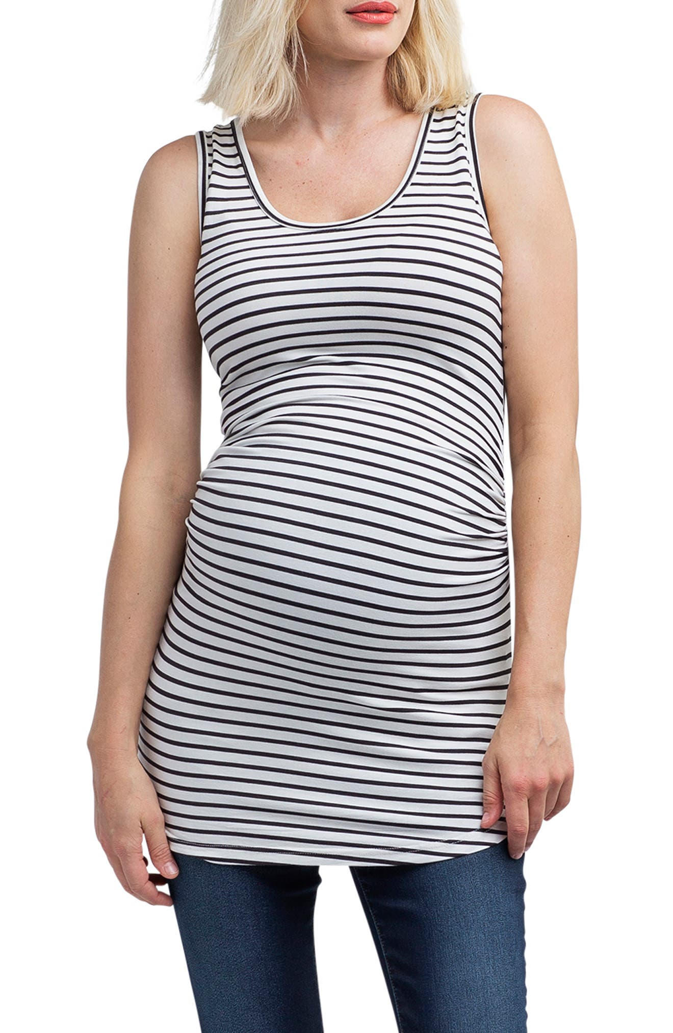 NOM MATERNITY,                             'Joey' Ruched Maternity Tank,                             Main thumbnail 1, color,                             BLACK/ WHITE STRIPE