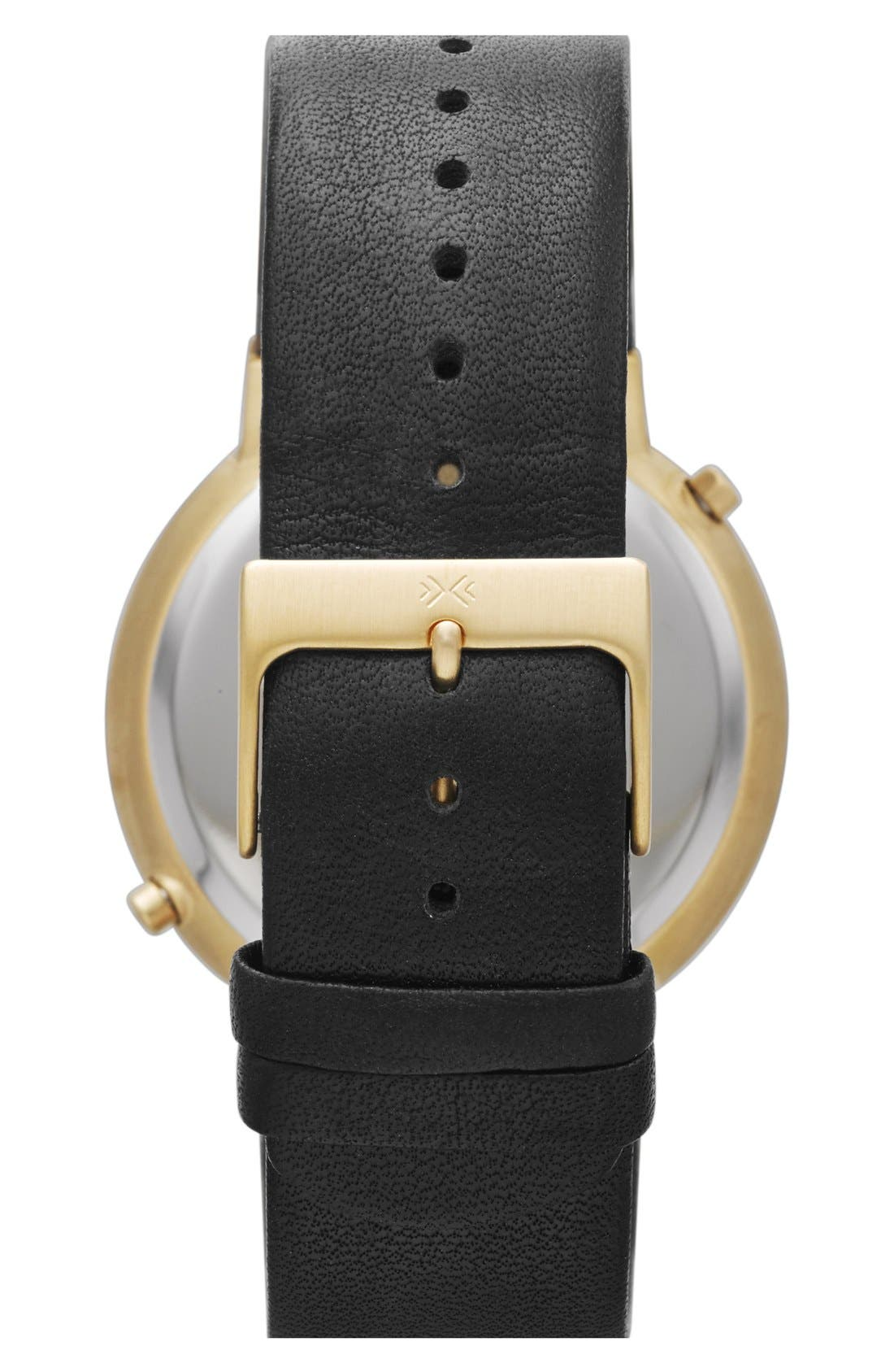 'Ancher' Dual Time Leather Strap Watch, 40mm,                             Alternate thumbnail 3, color,                             001