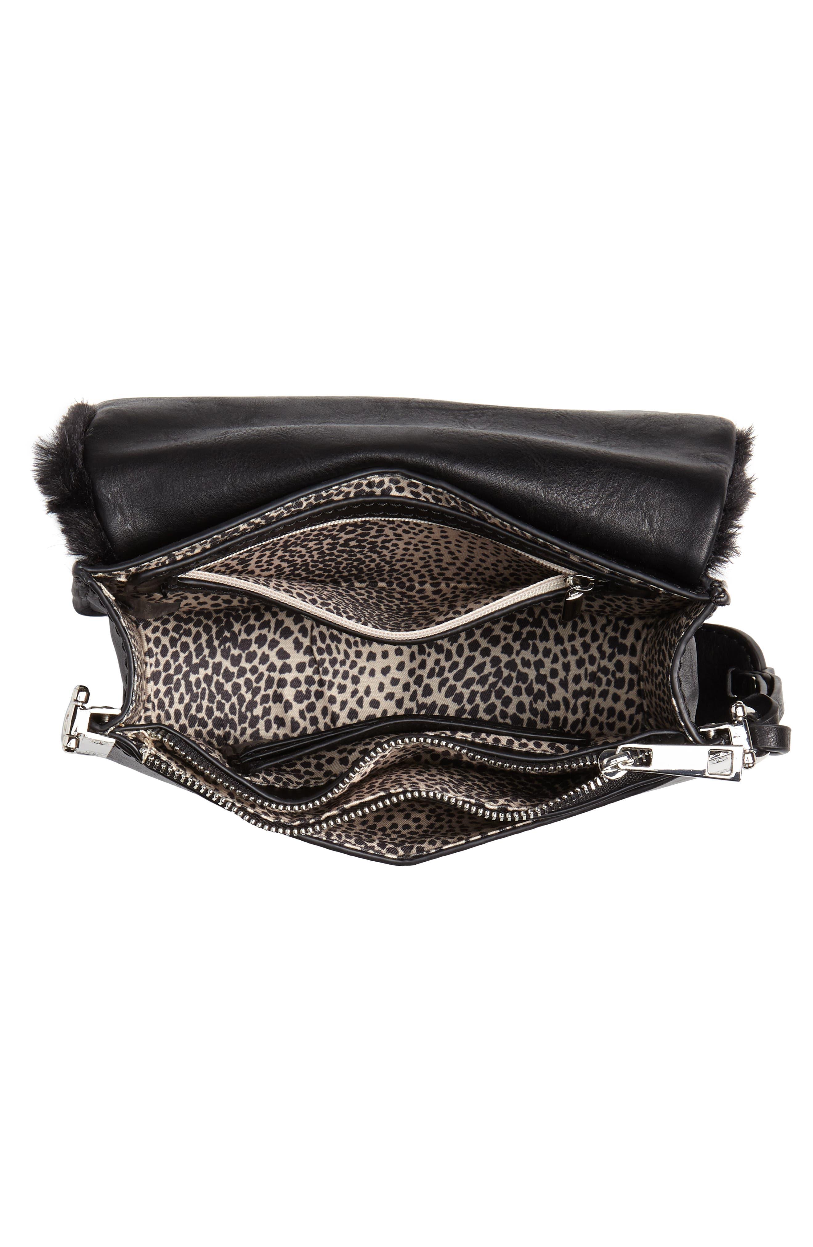 Lebra Faux Fur Crossbody Bag,                             Alternate thumbnail 4, color,                             BLACK