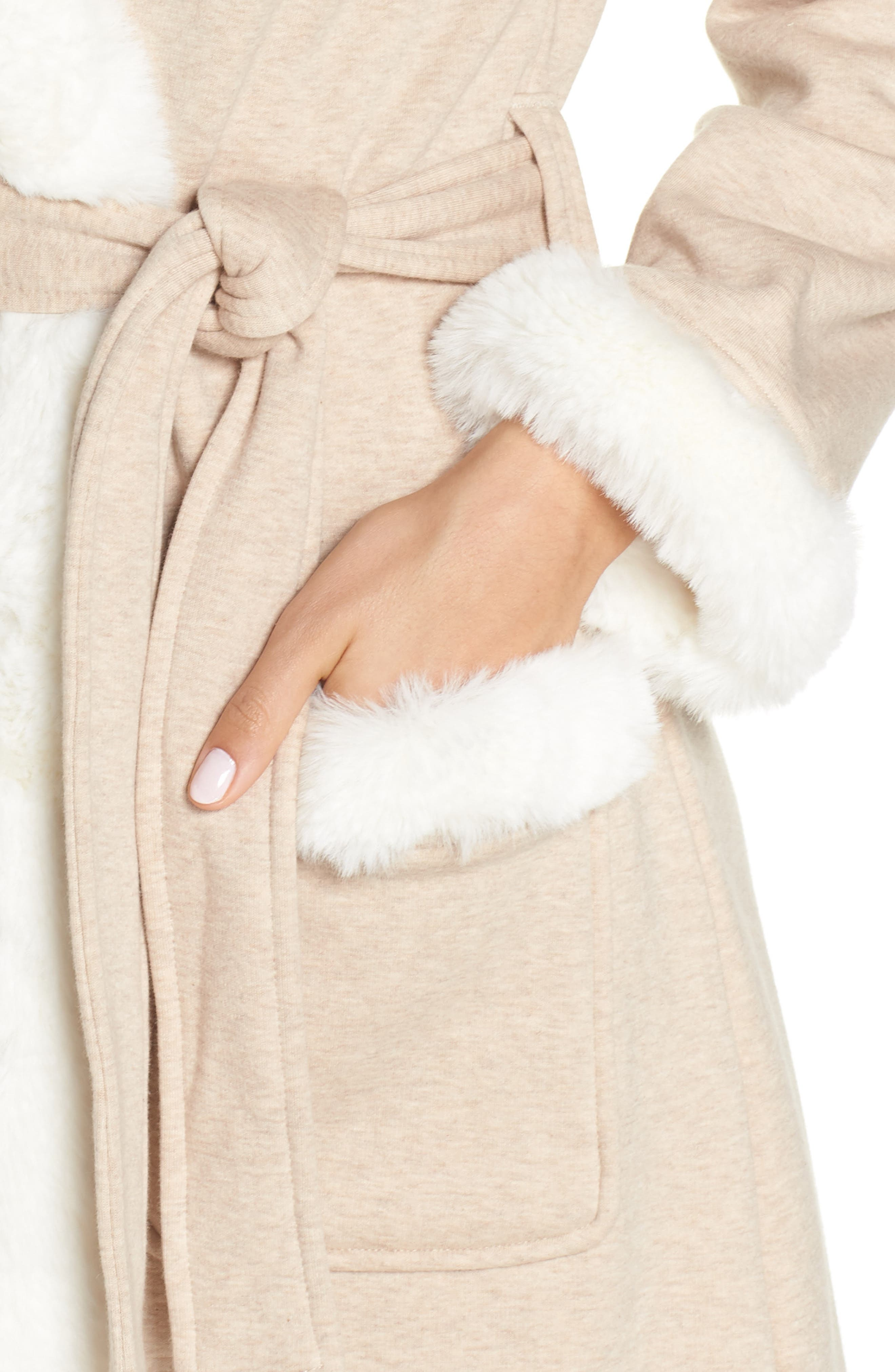 Duffield II Deluxe Faux Fur Trim Robe,                             Alternate thumbnail 4, color,                             OATMEAL HEATHER