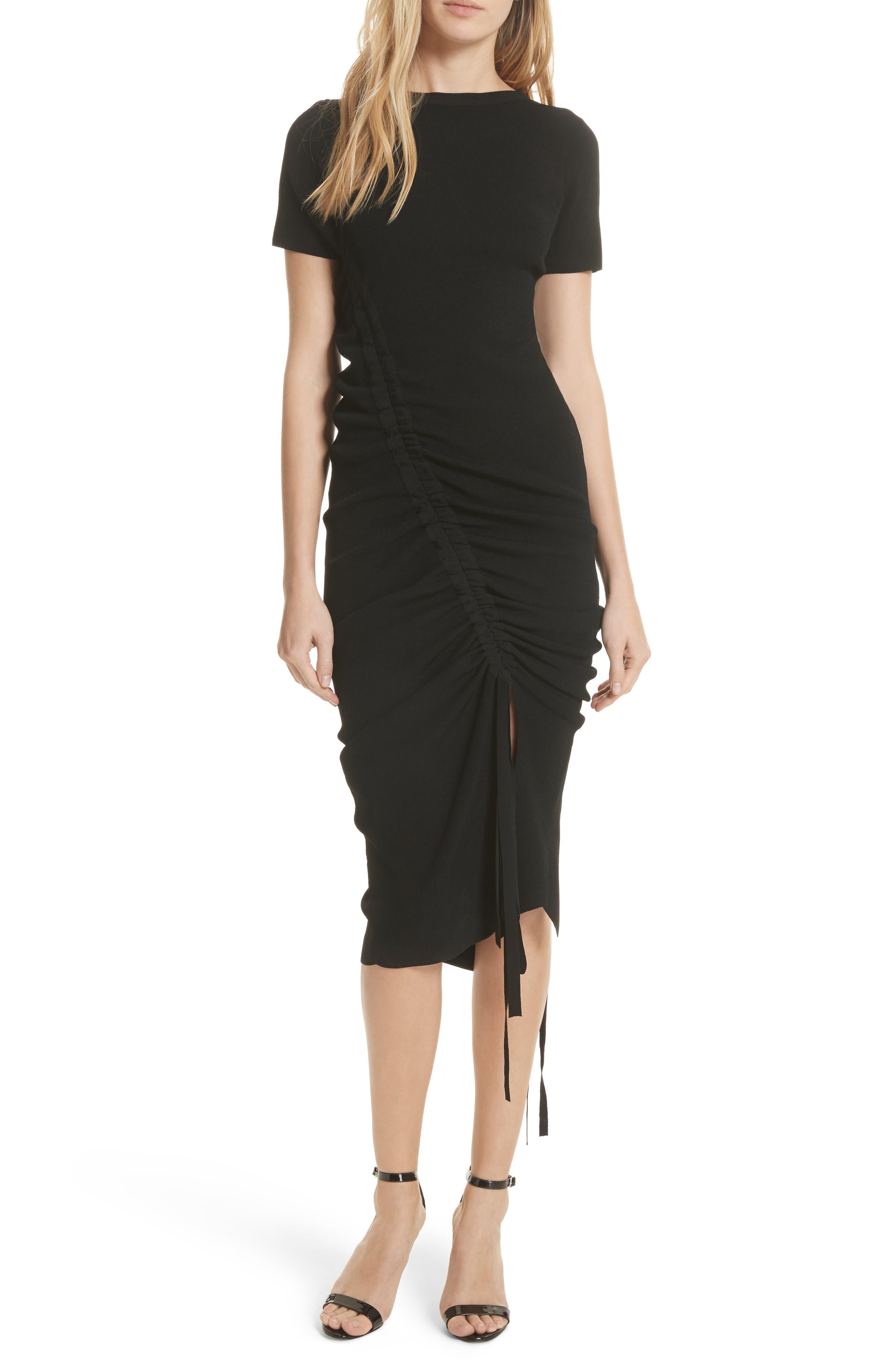 Ruched Midi Dress,                             Main thumbnail 1, color,                             001