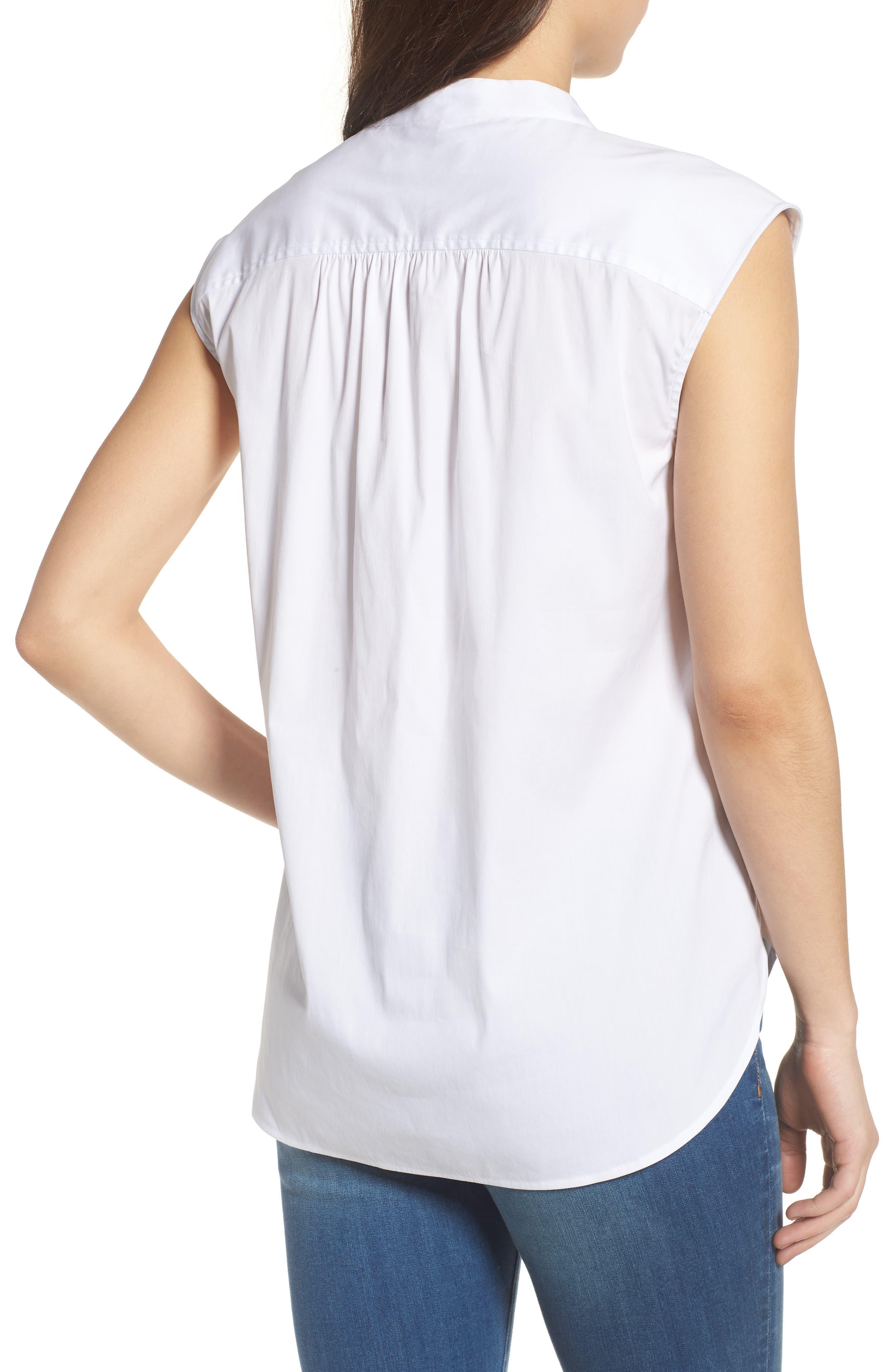 Sleeveles Tie Neck Stretch Cotton Poplin Blouse,                             Alternate thumbnail 2, color,                             100