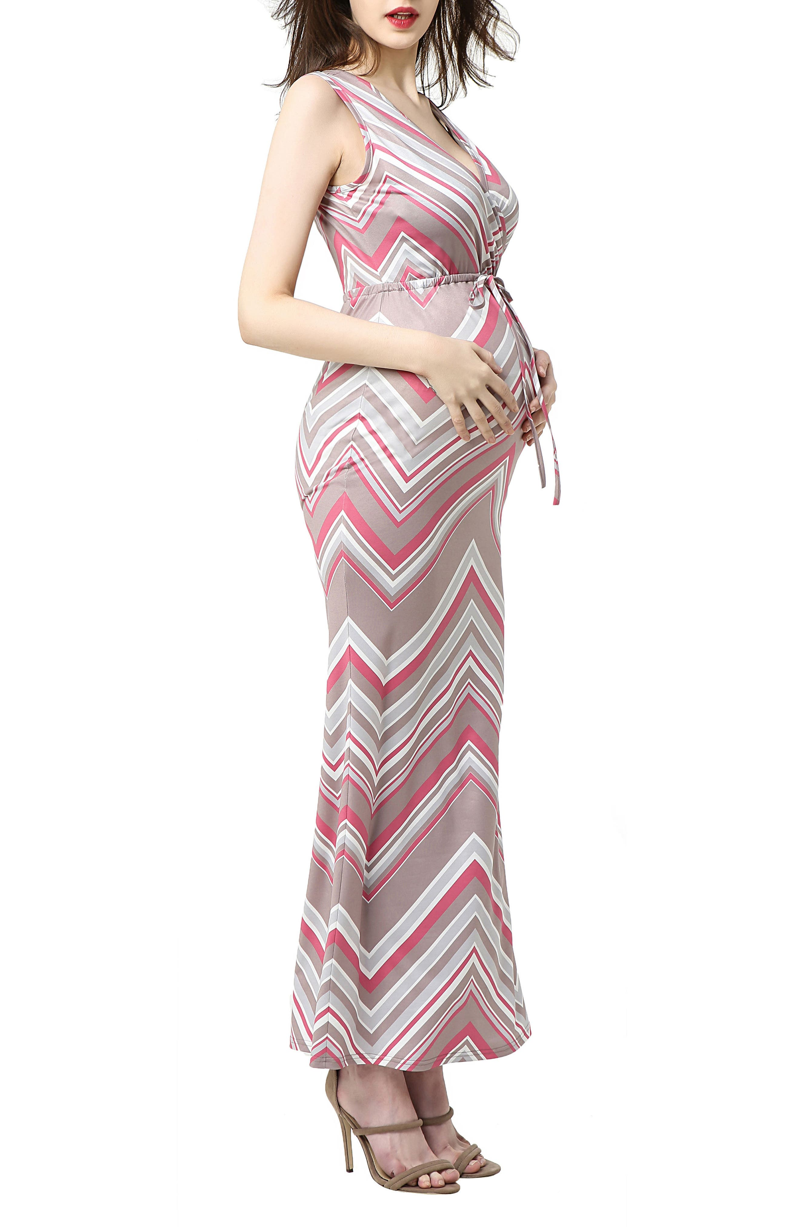 Natalie Chevron Print Maxi Maternity Dress,                             Alternate thumbnail 3, color,                             MULTICOLORED STRIPE