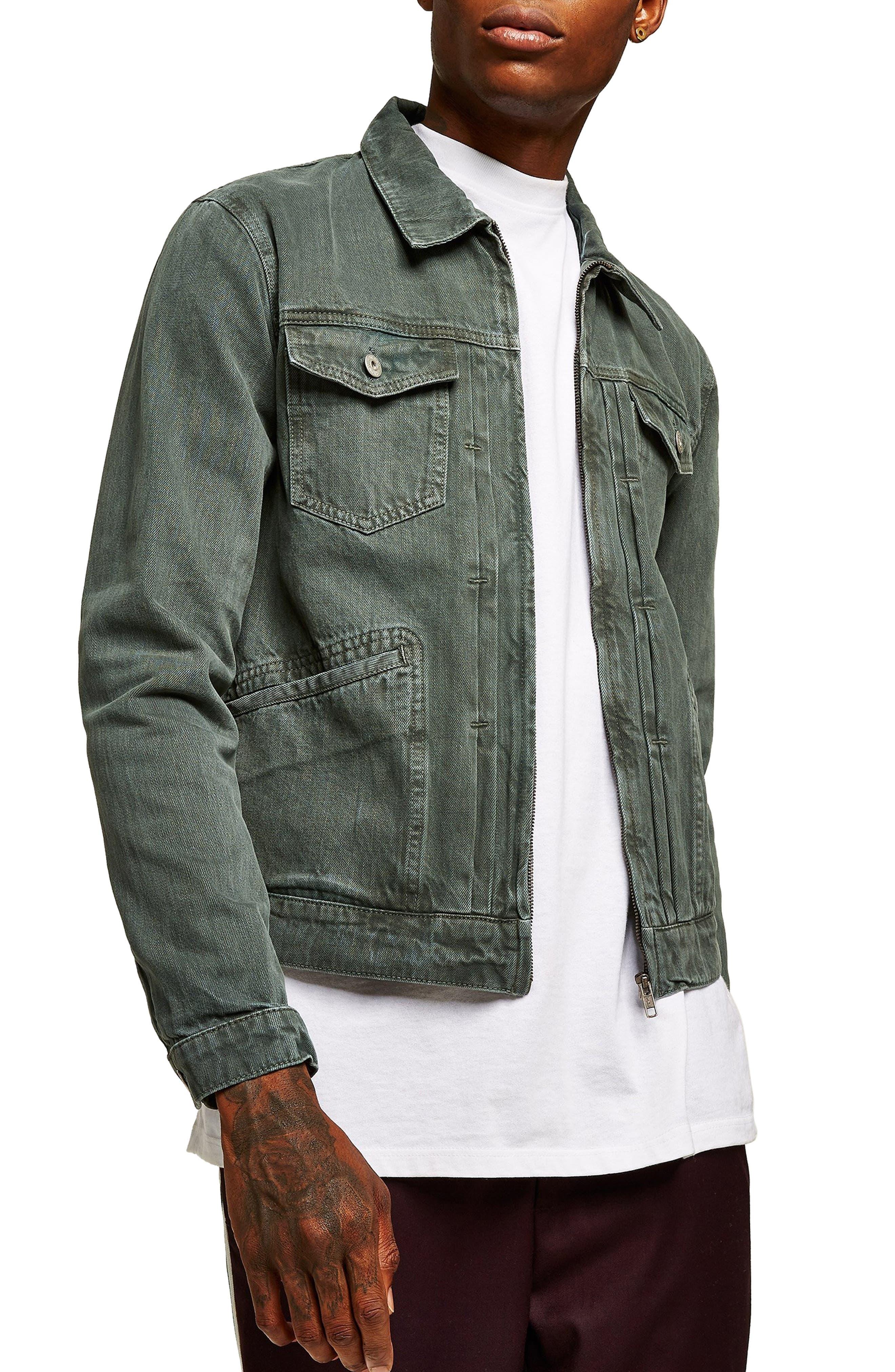 Zip Denim Jacket,                         Main,                         color, LIGHT GREEN