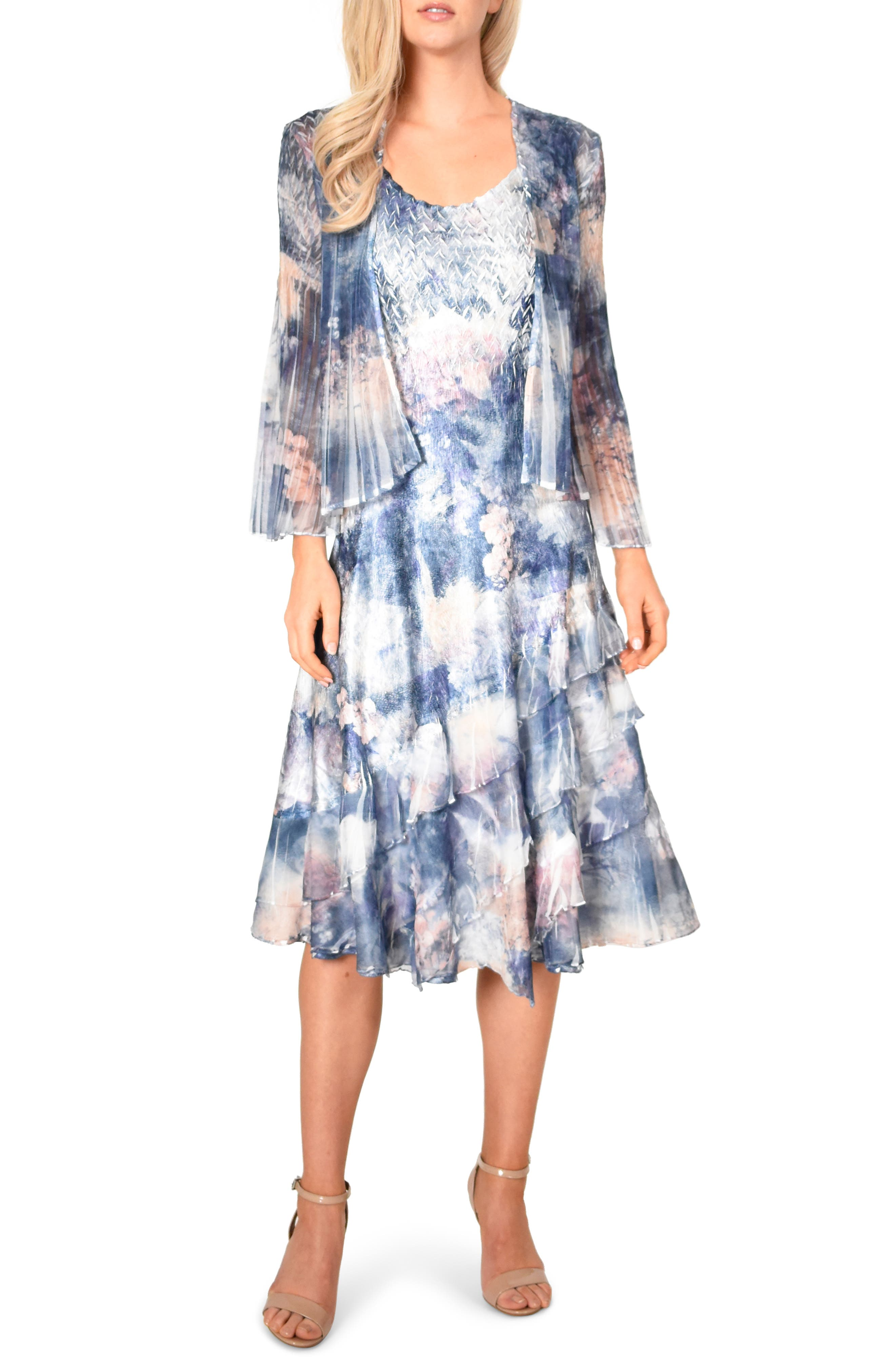 Petite Komarov Floral Print A-Line Dress With Jacket, Blue