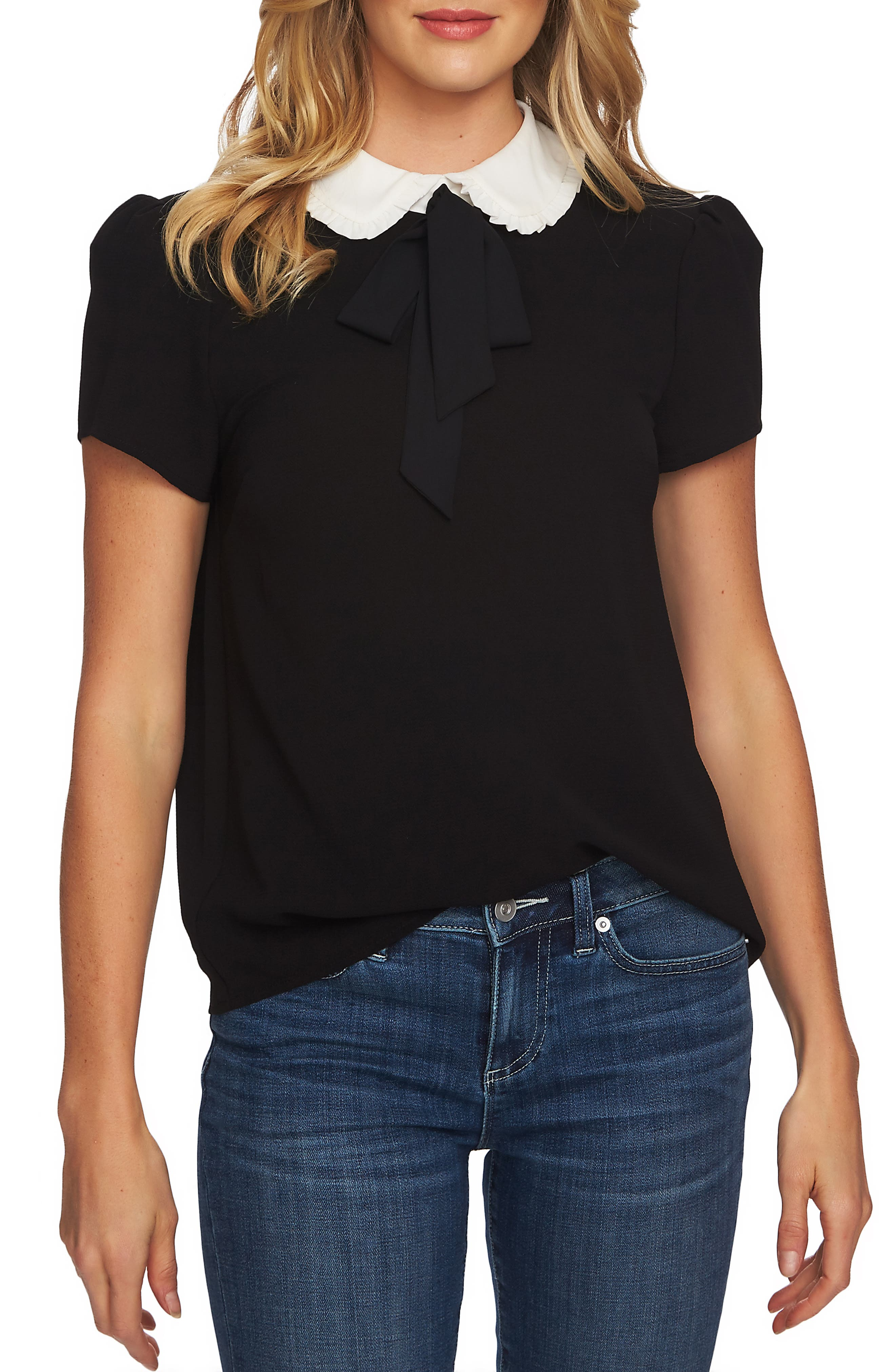 Ruffled Collar Tie Neck Top,                             Main thumbnail 1, color,                             RICH BLACK