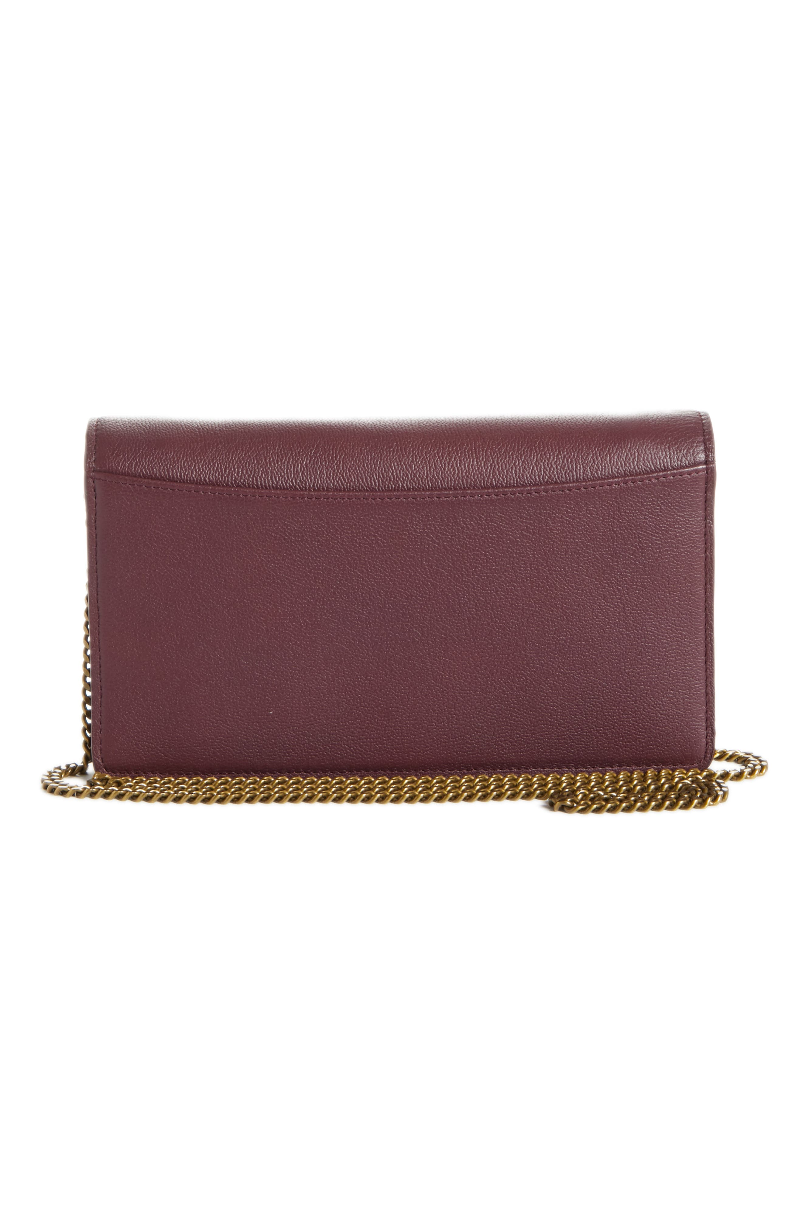 Polina Leather Wallet on a Chain,                             Alternate thumbnail 3, color,                             OBSCURE PURPLE