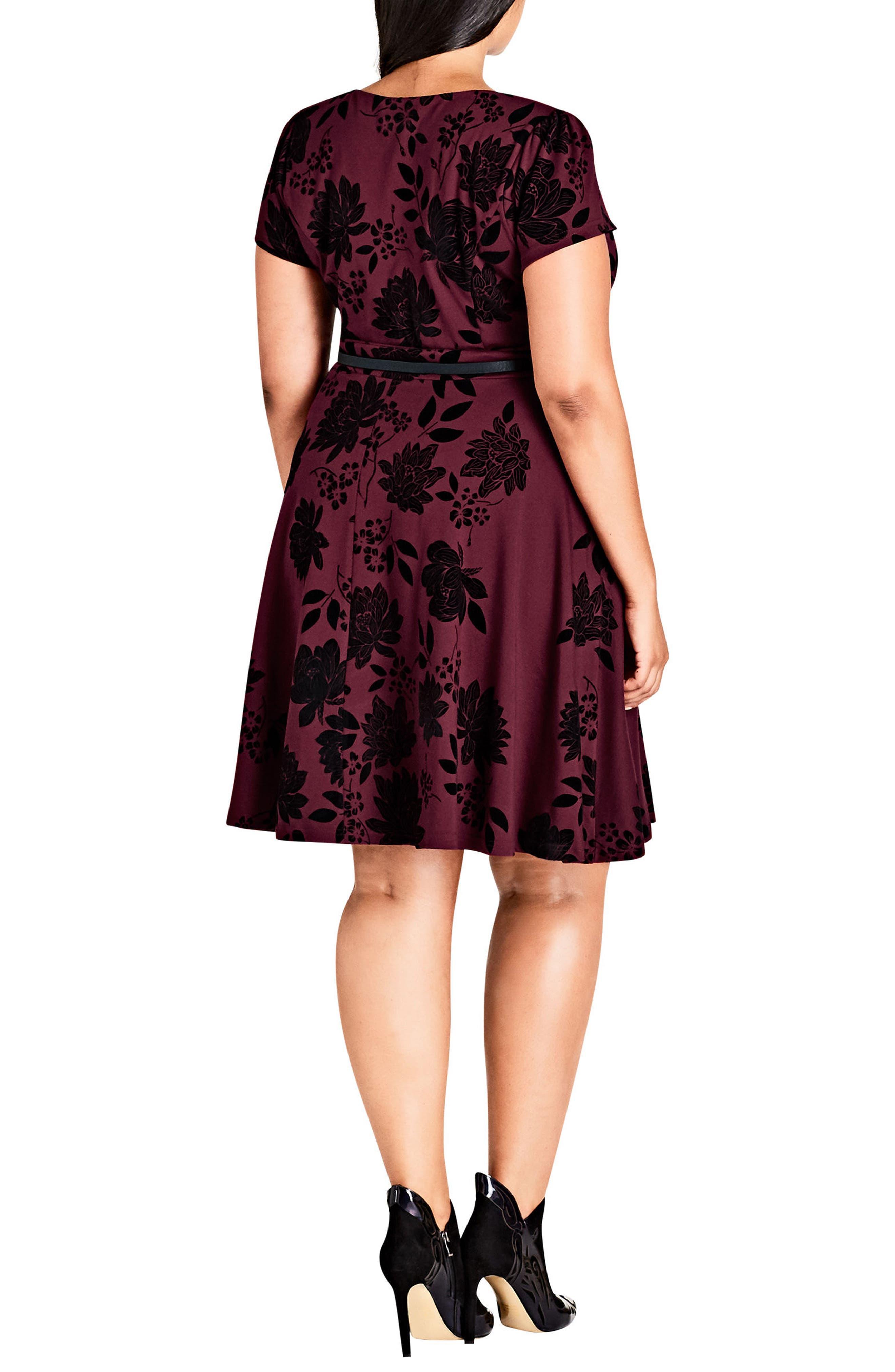 Belted Flock Floral Dress,                             Alternate thumbnail 2, color,                             RUBY