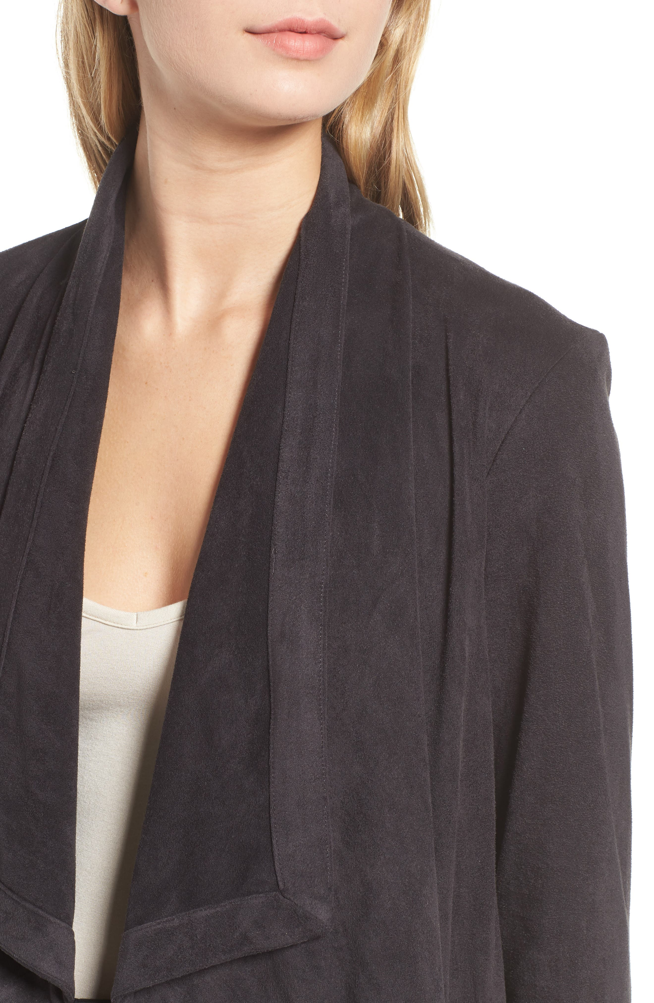 Faux Suede Waterfall Jacket,                             Alternate thumbnail 4, color,                             CHARCOAL