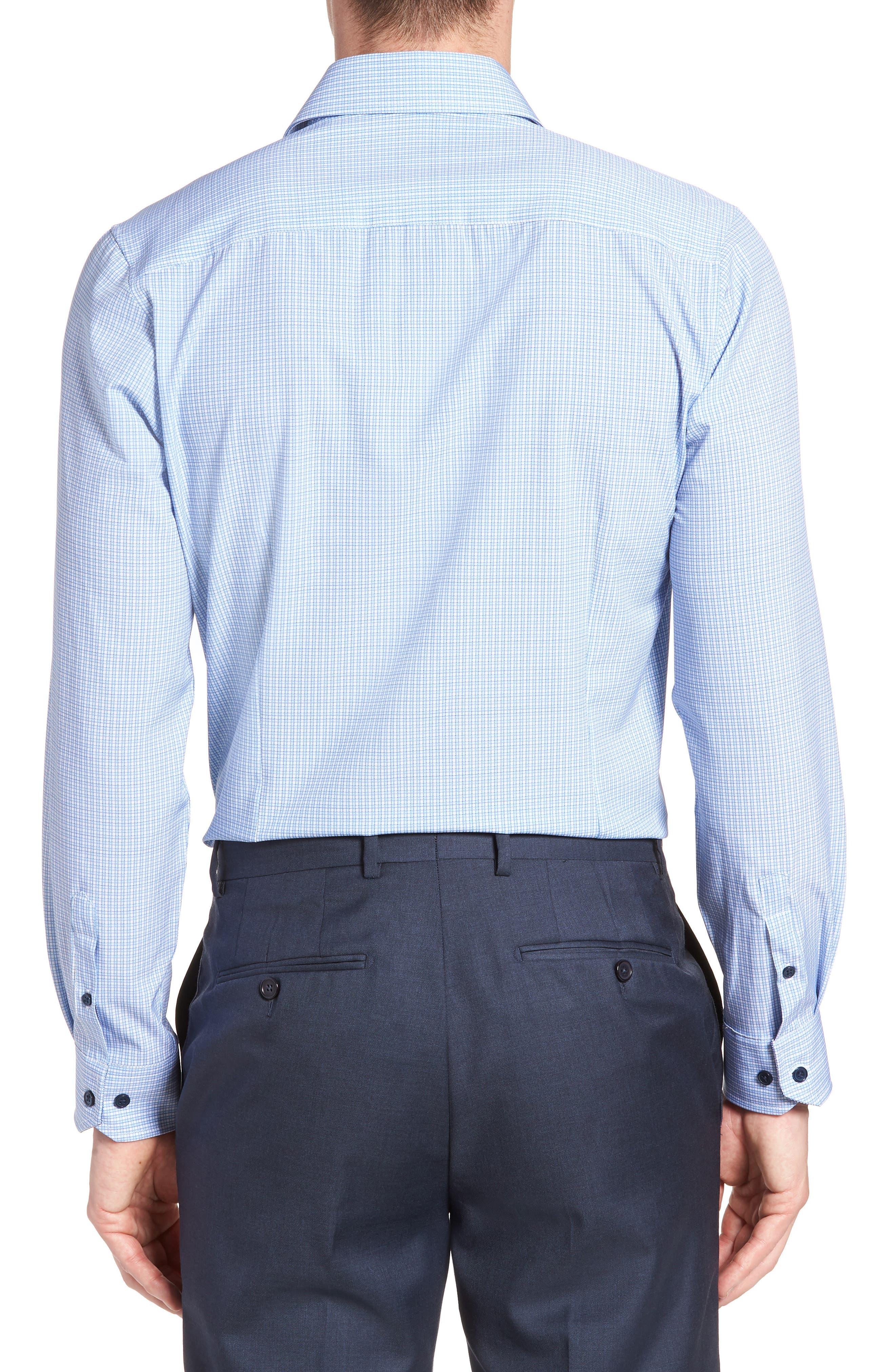 Trim Fit Check 4-Way Stretch Dress Shirt,                             Alternate thumbnail 3, color,                             BLUE