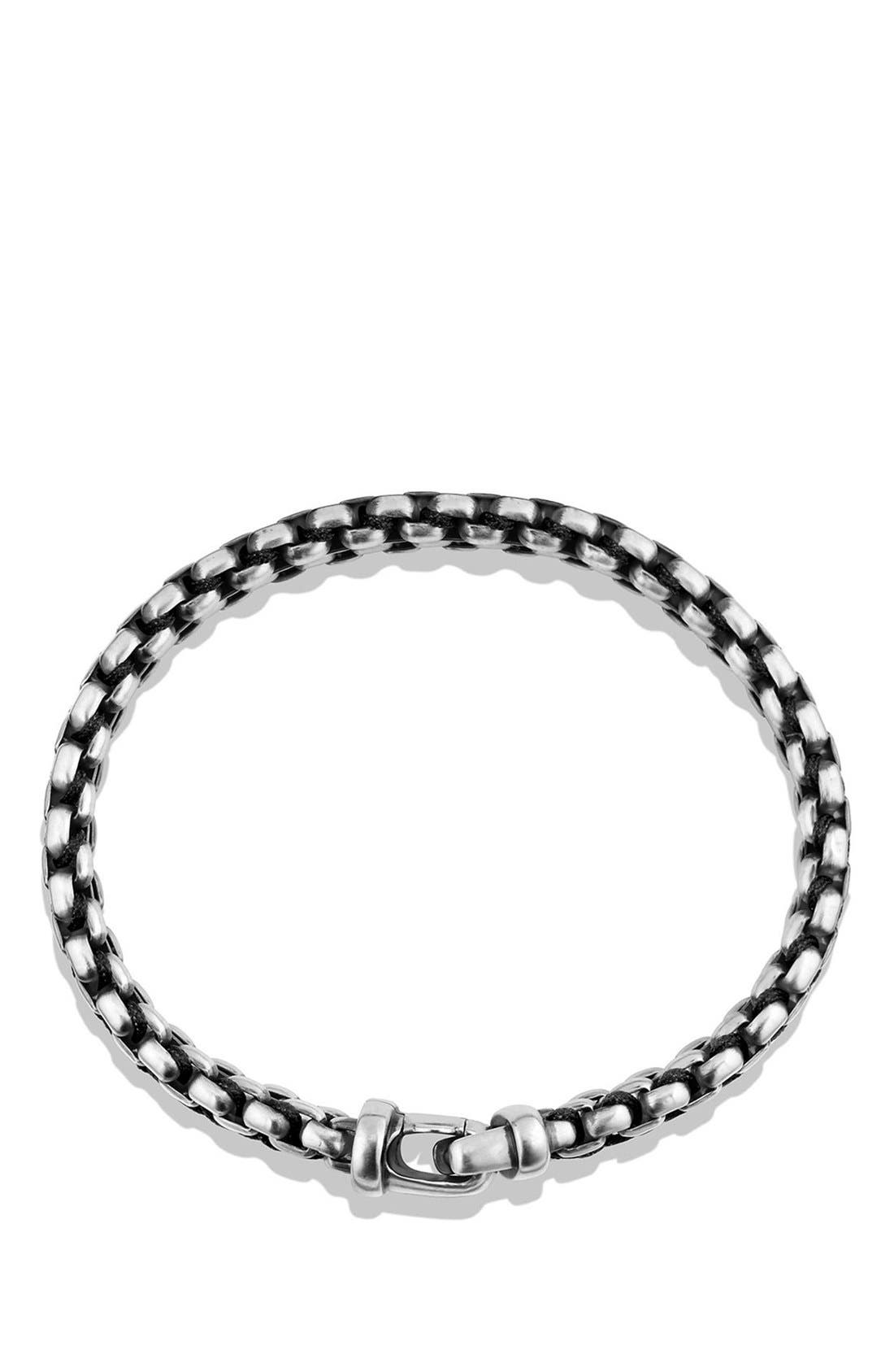 'Chain' Woven Box Chain Bracelet,                             Alternate thumbnail 3, color,                             SILVER/ BLACK