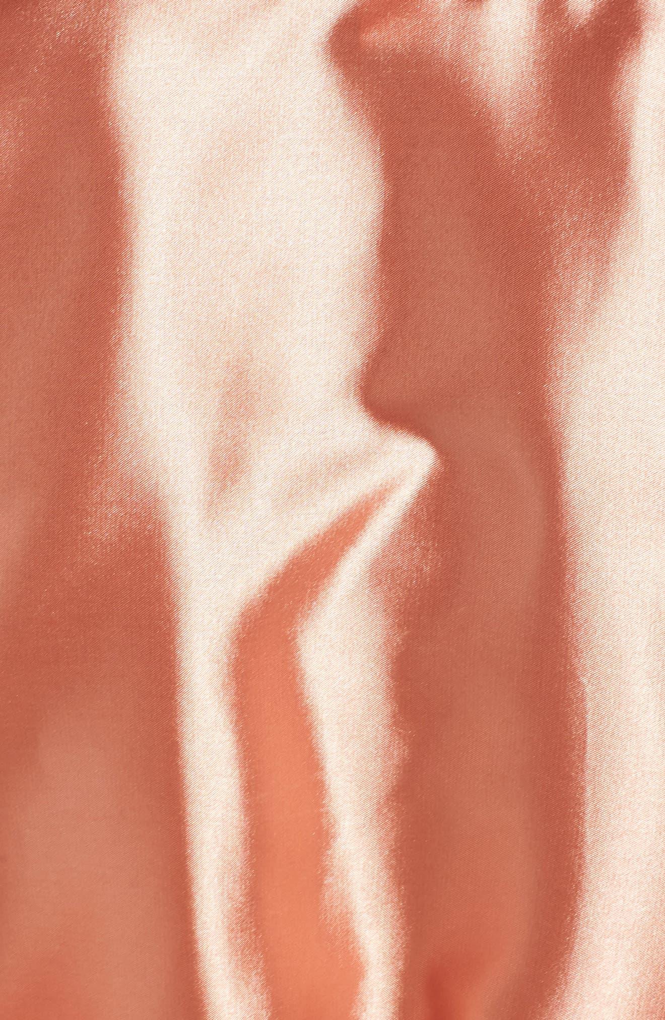 Drama Lace Trim Satin Robe,                             Alternate thumbnail 5, color,                             CAMEO BROWN/ BLACK