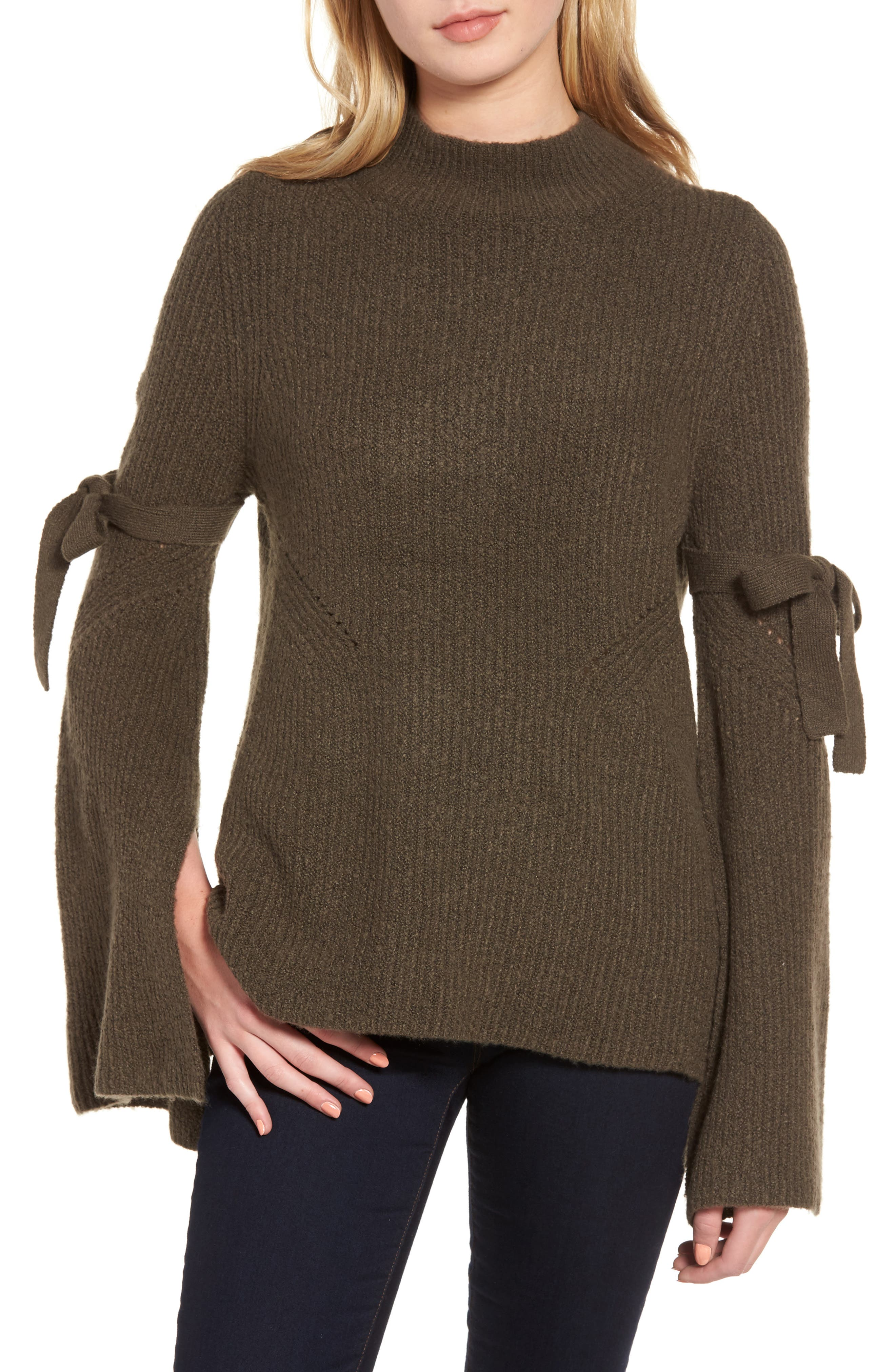 Tie Bell Sleeve Sweater,                             Main thumbnail 2, color,