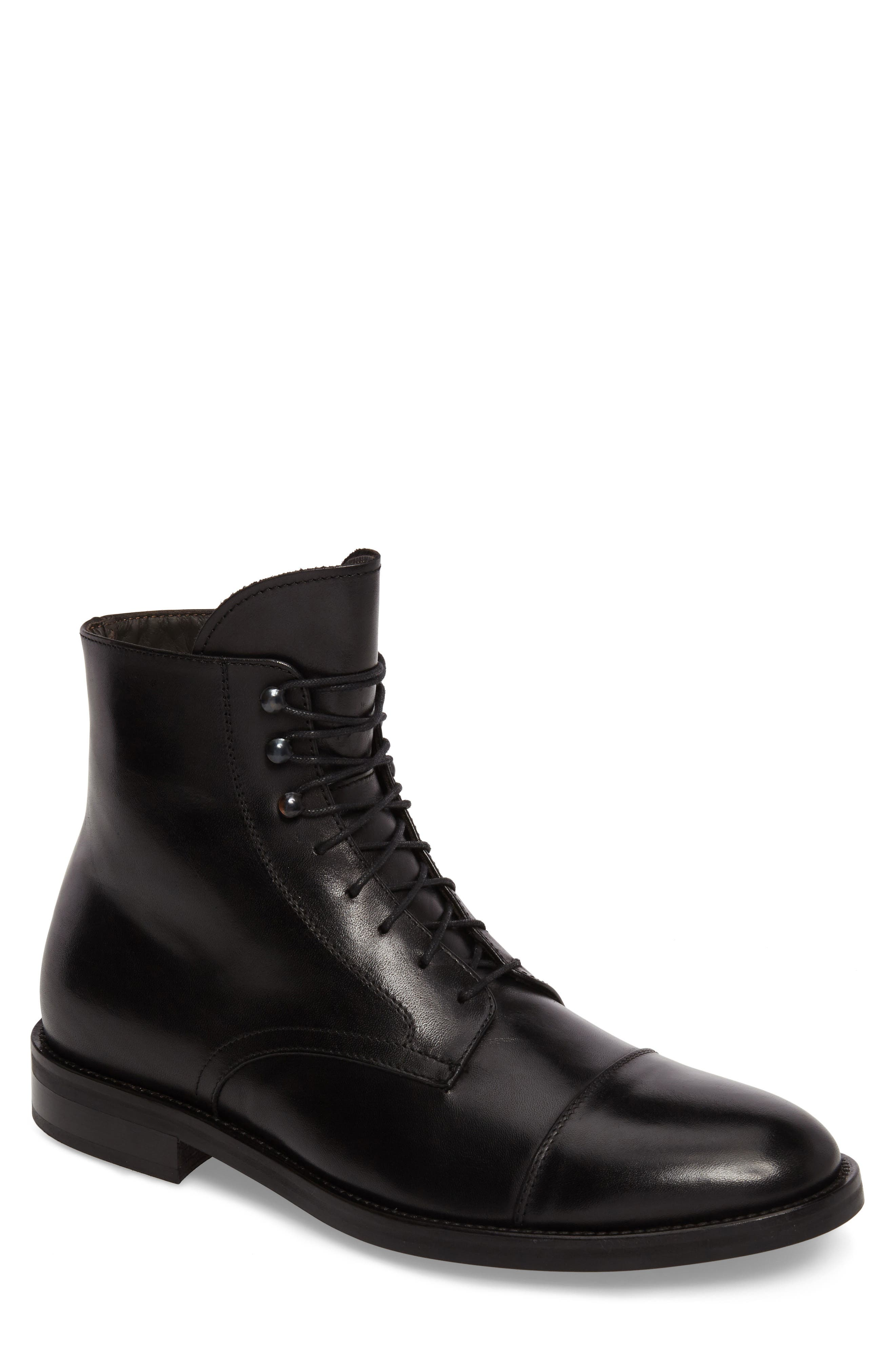 Henri Cap Toe Boot,                             Main thumbnail 1, color,                             BLACK